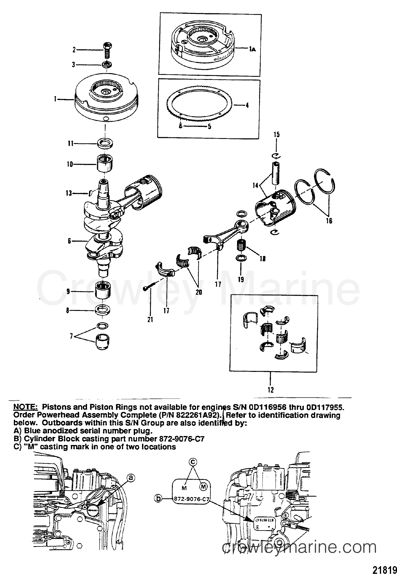 1988 Mercury Outboard 20 [MH] - 1020201BD CRANKSHAFT, PISTONS AND FLYWHEEL section