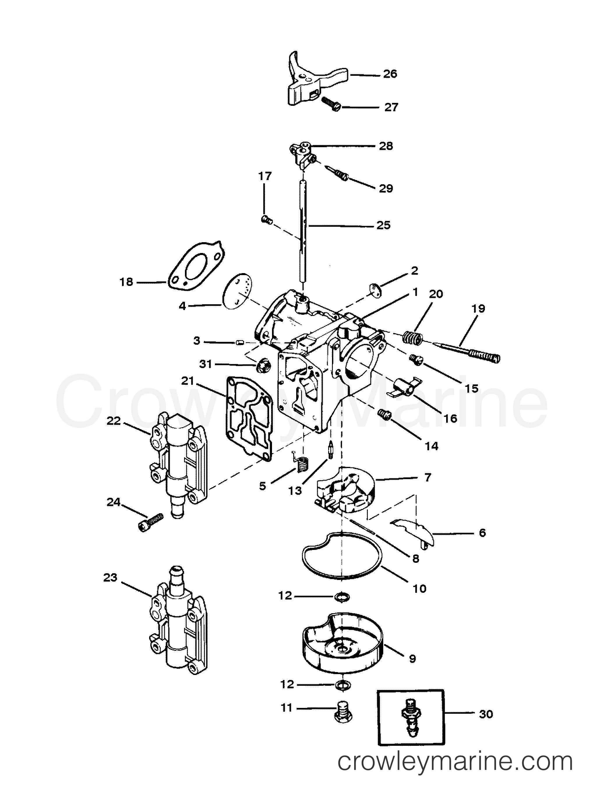 Mariner Wiring Diagram 30 Hp Page 6 And Schematics 25 Outboard Diagrams Source Carburetor Embly 1989 40 Elhpto 70404119d Rh Crowleymarine Com Motor