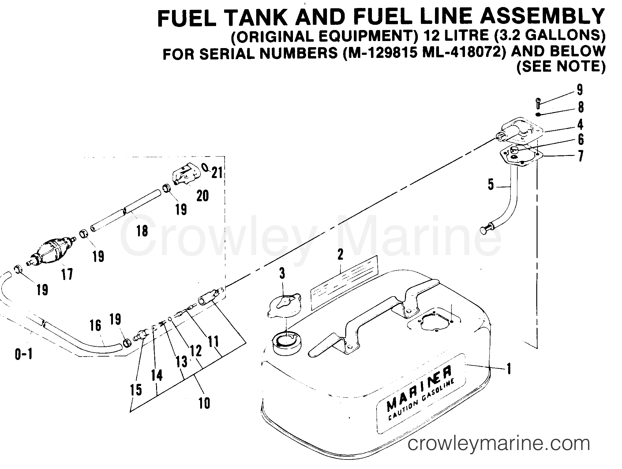 Fuel Tank And Fuel Line Assembly 1989 Mariner Outboard 5