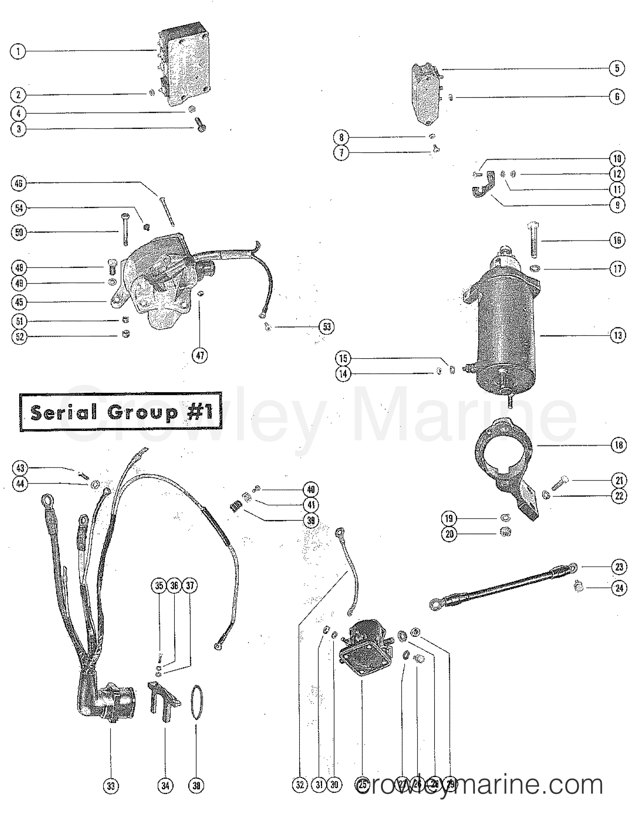starter motor and wiring harness  serial group  1