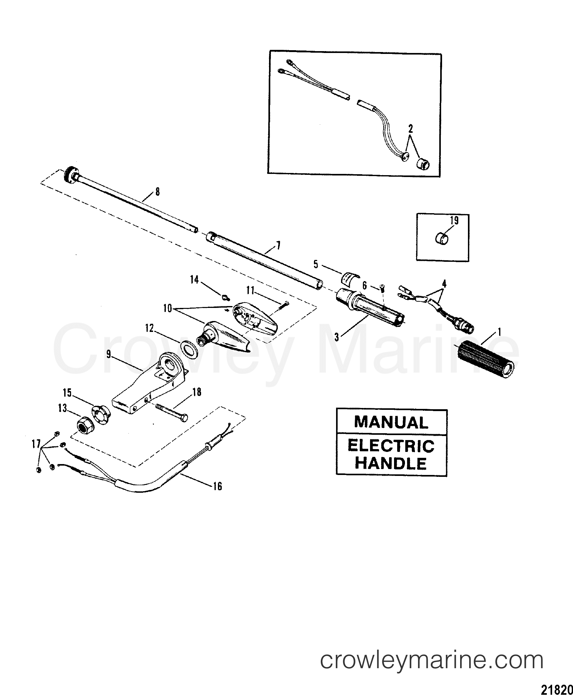 1988 Mariner Outboard 25 [MLH] - 7025211ND - STEERING HANDLE ASSEMBLY(MANUAL/ELECTRIC HANDLE) section