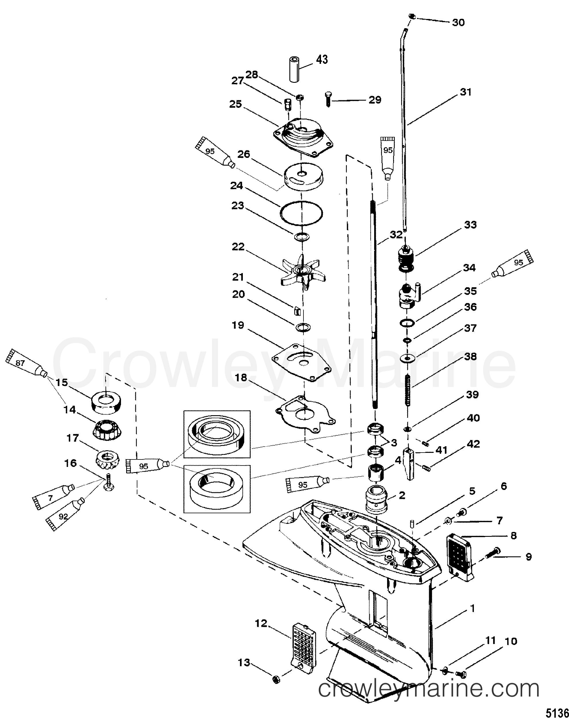 2000 Mercury Outboard 25 [M] - 1025202WD - GEAR HOUSING(DRIVESHAFT) (2.25:1 GEAR RATIO) section