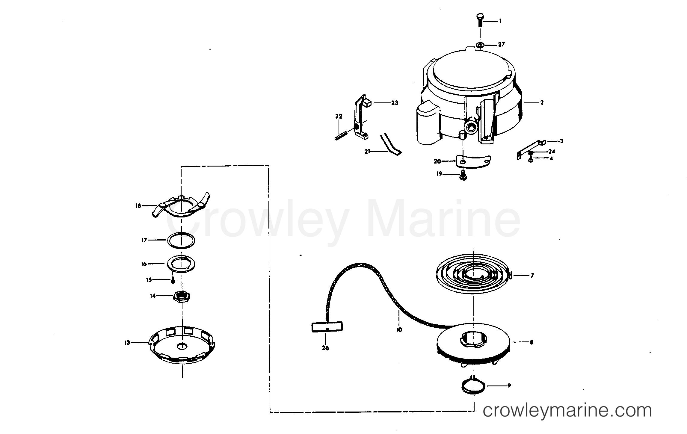 1980 Chrysler Outboard 30 - 307B0C - HAND STARTER section