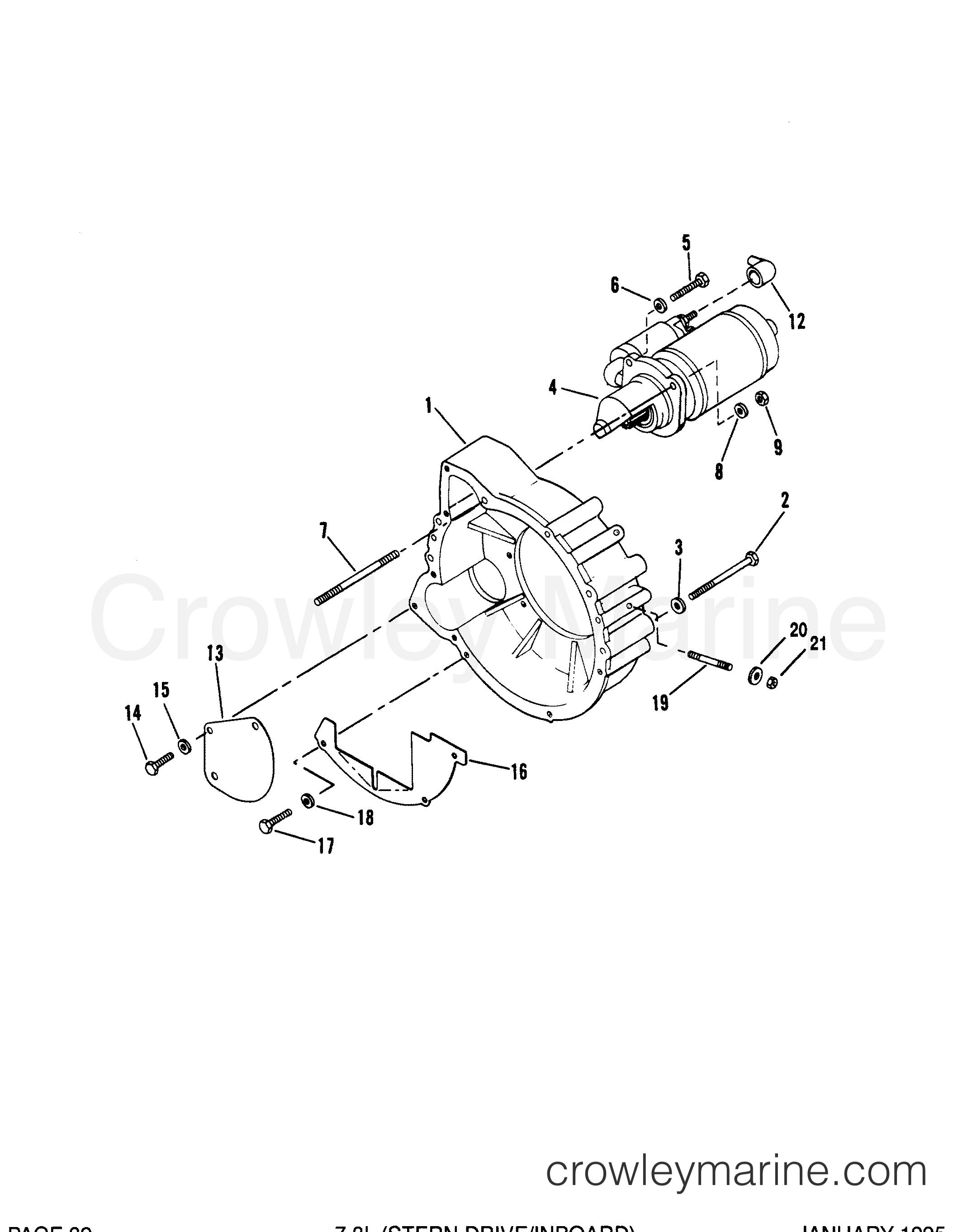 flywheel housing and starter motor  inboard