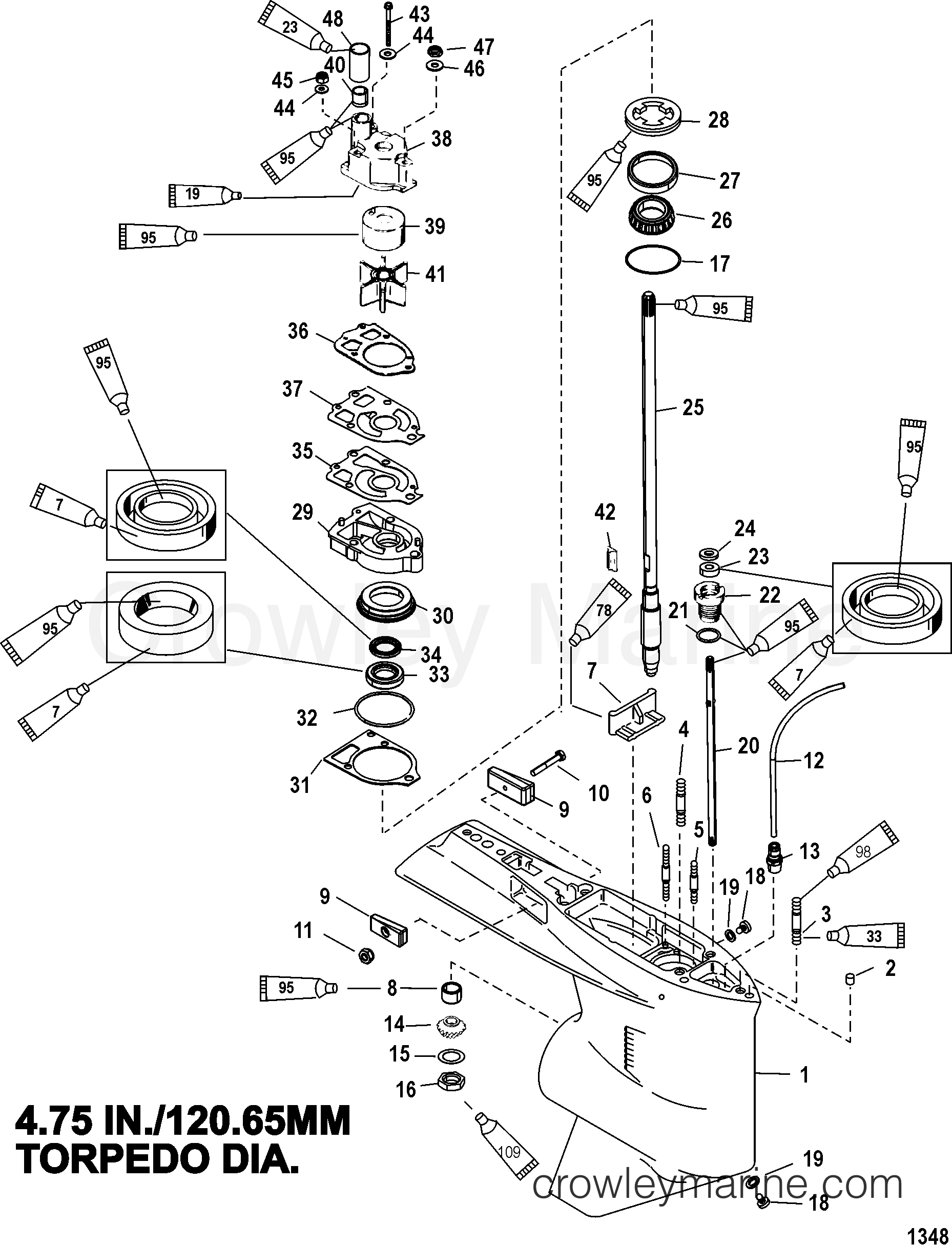 gear housing driveshaft  standard  counter rotation
