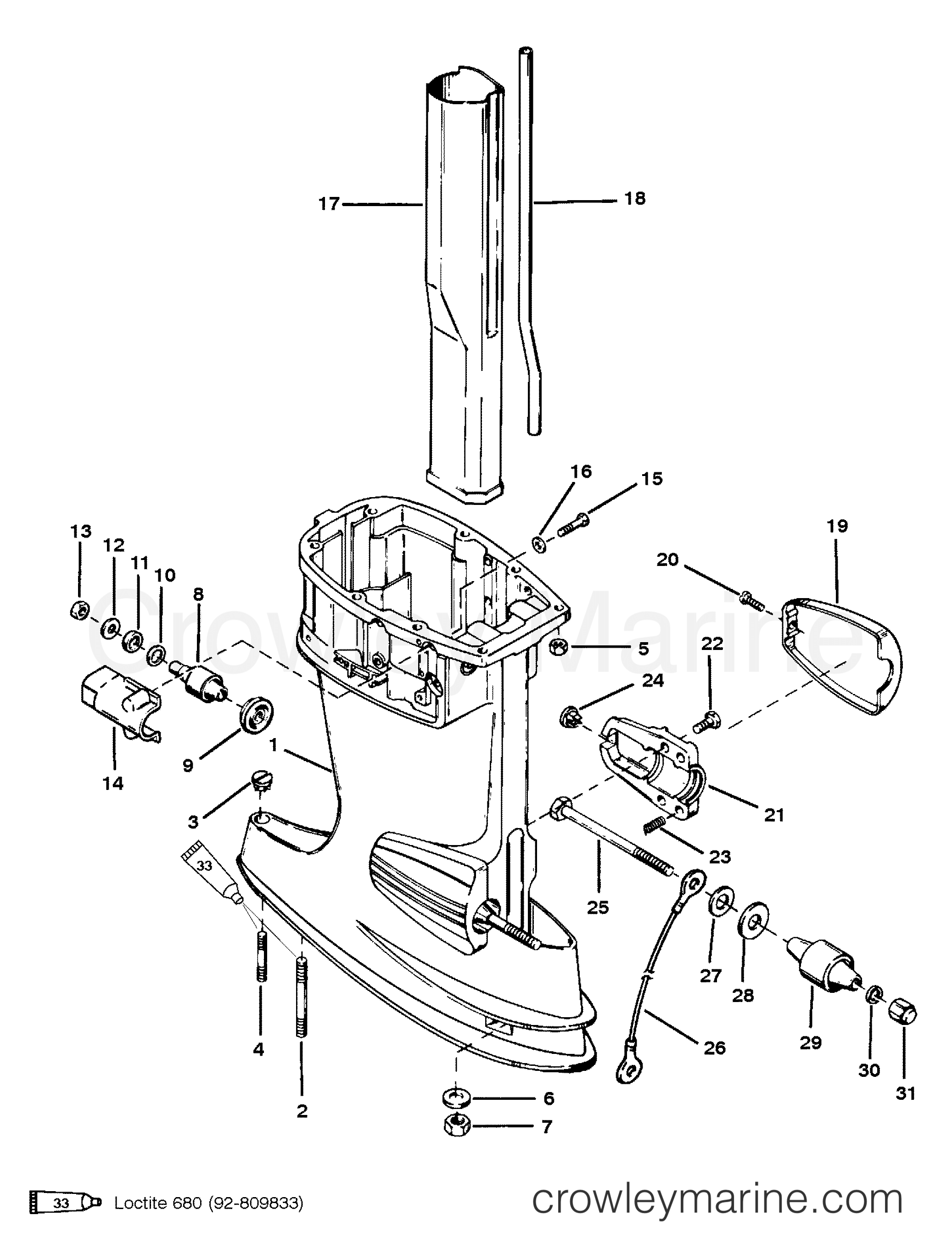 1992 Mercury Outboard 40 [EO] - 1040302MD - DRIVE SHAFT HOUSING ASSEMBLY section