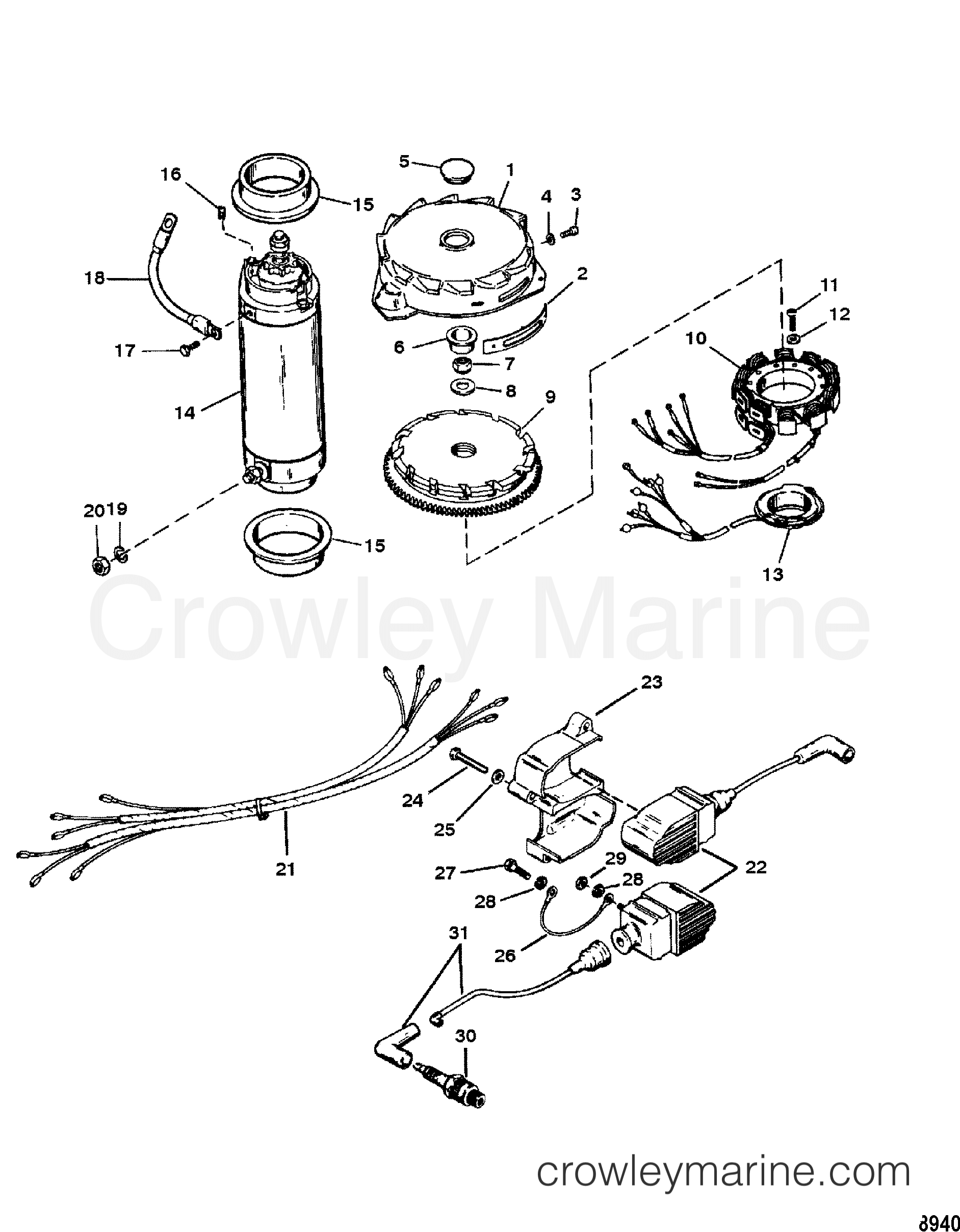 1997 Mercury Race Outboard 150 [PROMAX] - 1915313TH - FLYWHEEL, STARTER MOTOR AND IGNITION COILS section