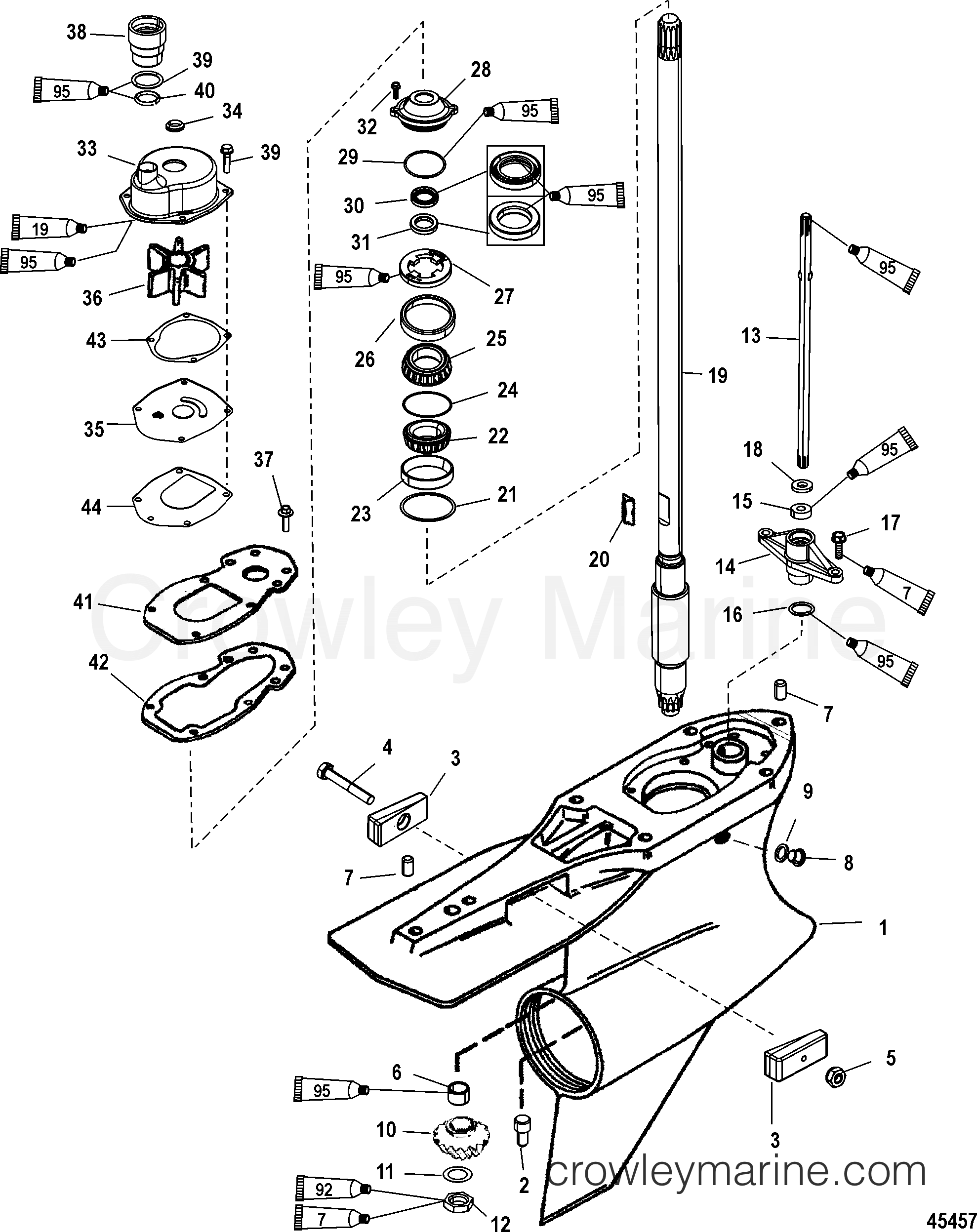 gear housing driveshaft  standard rotation