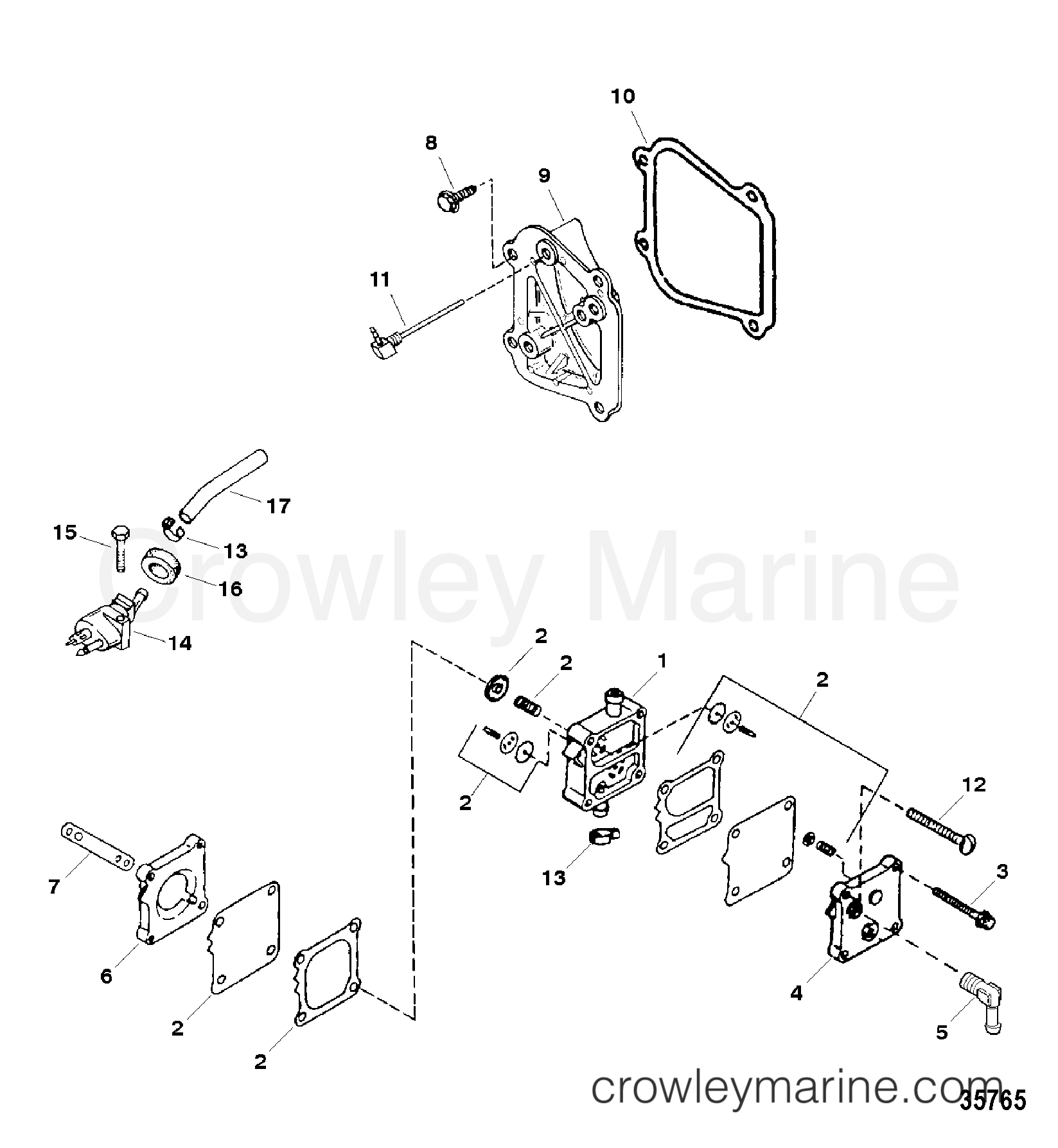Fuel Pump Assembly And Components 1998 Force Outboard 40