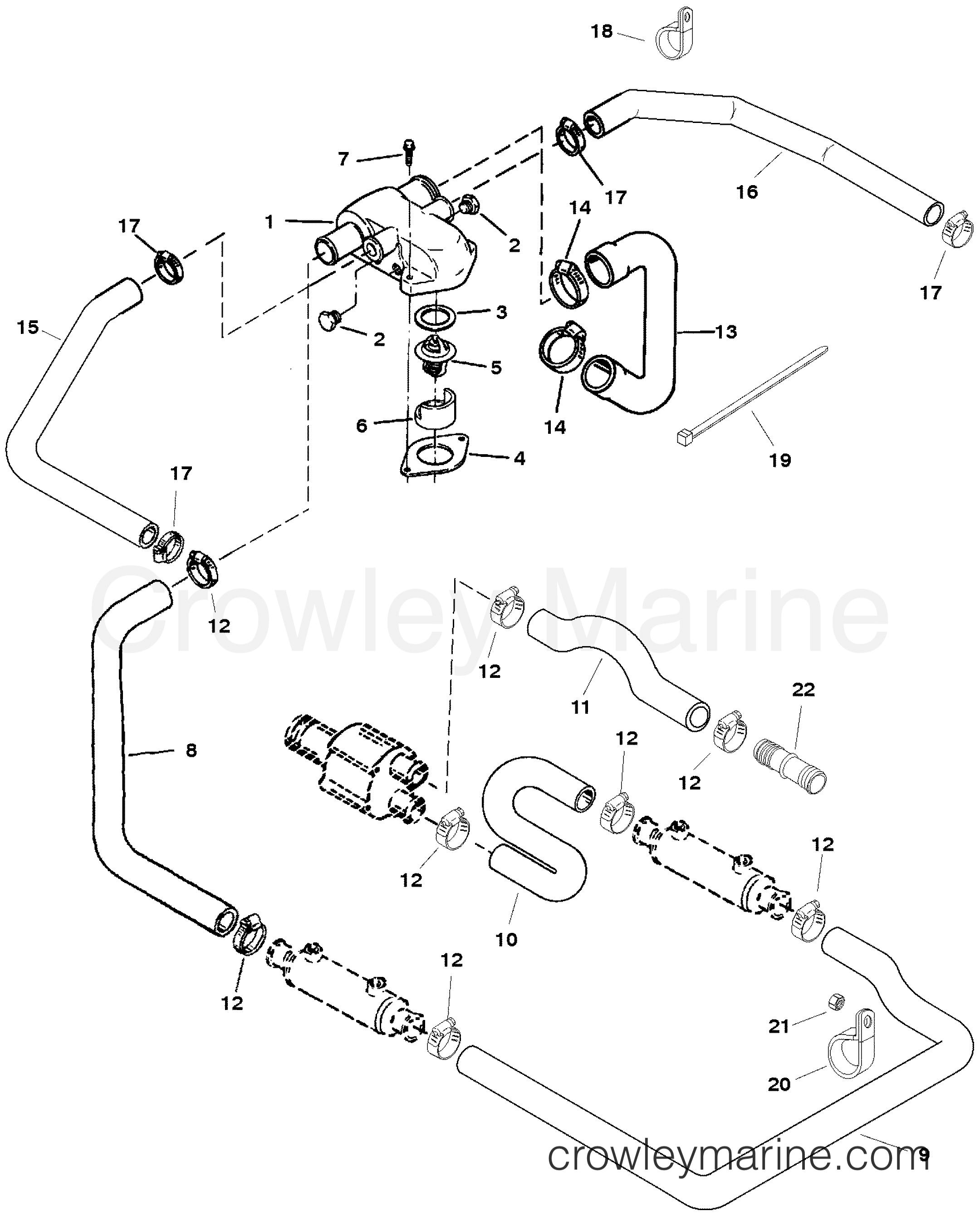 1996 Mercury Inboard Engine 7.4L [CARB] - 3741162JT - THERMOSTAT HOUSING  (STANDARD