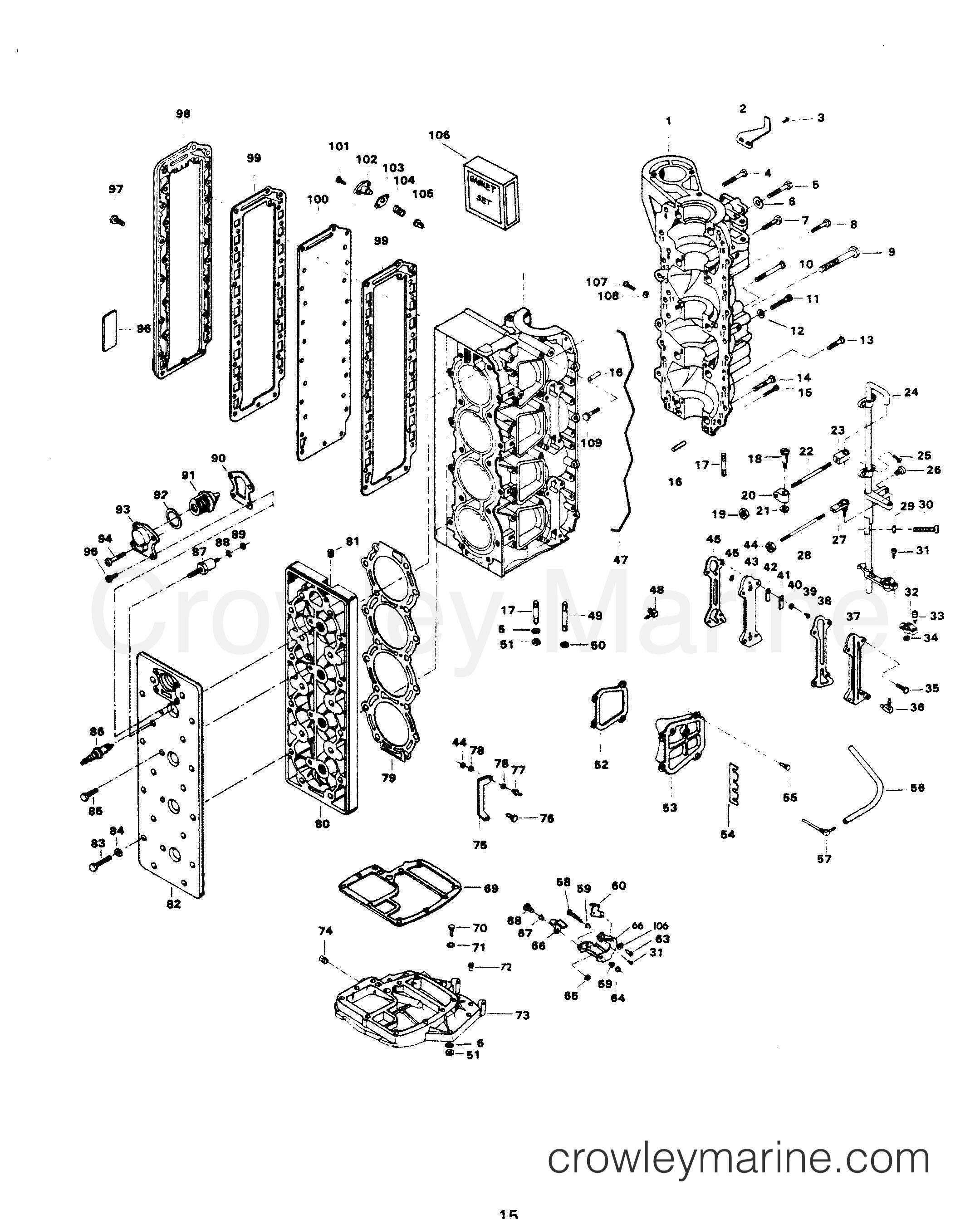 1982 Chrysler Outboard 140 - 1408B2D - POWER HEAD