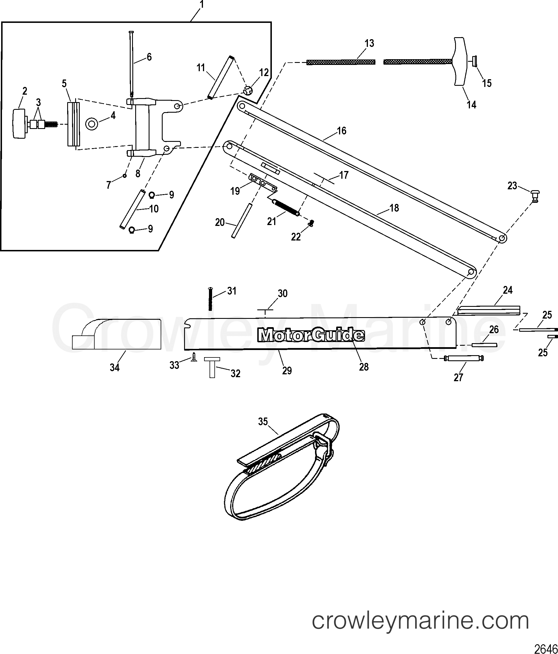 2005 MotorGuide 12V [MOTORGUIDE] - 921310040 07 BOW (BLACK)(42.00 INCH) (MST90742A) section