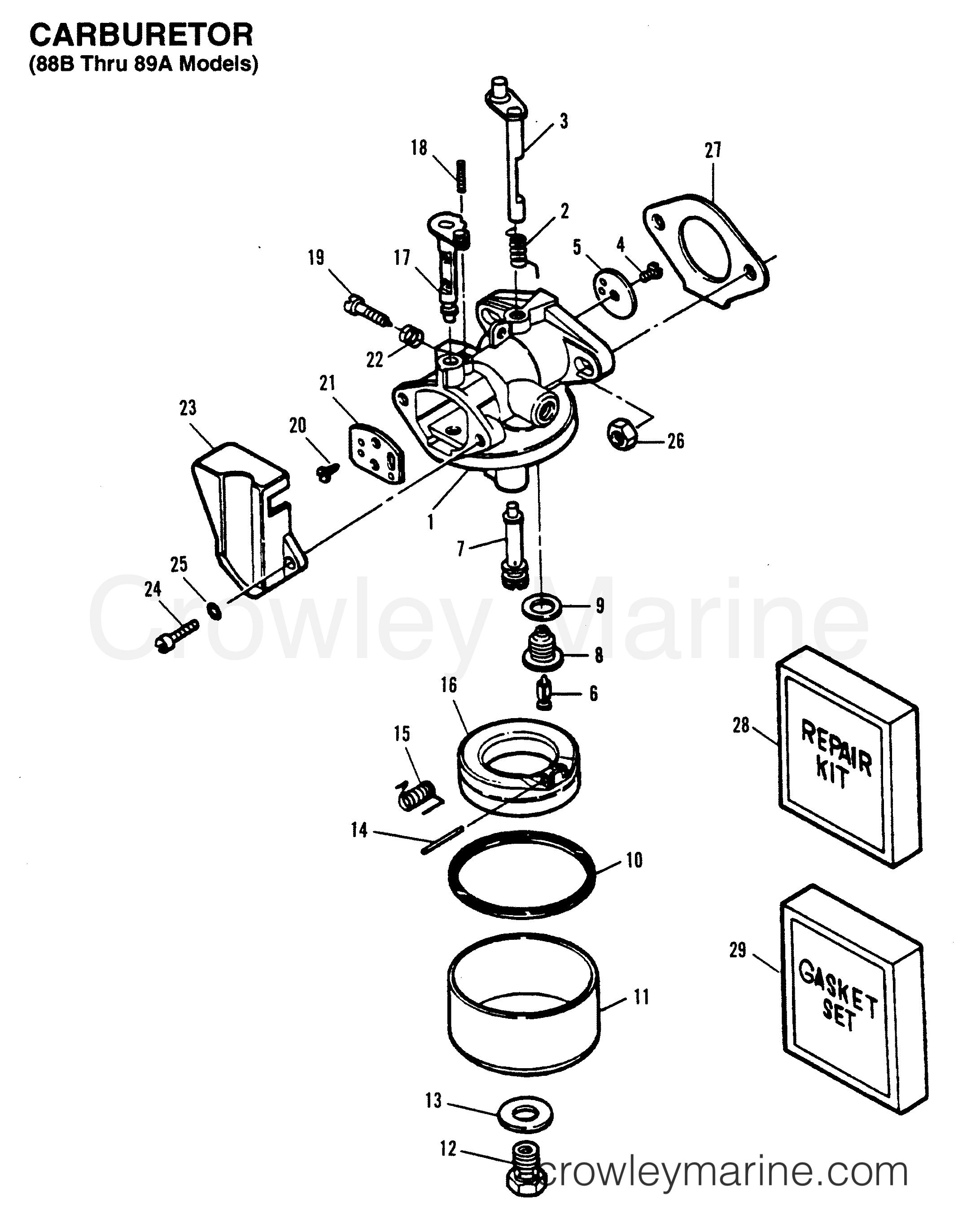 1993 Hors-bord Force 5 - H005201NE [MH] CARBURATEUR (MODÈLES 88 B JUSQU'À 89 A) section