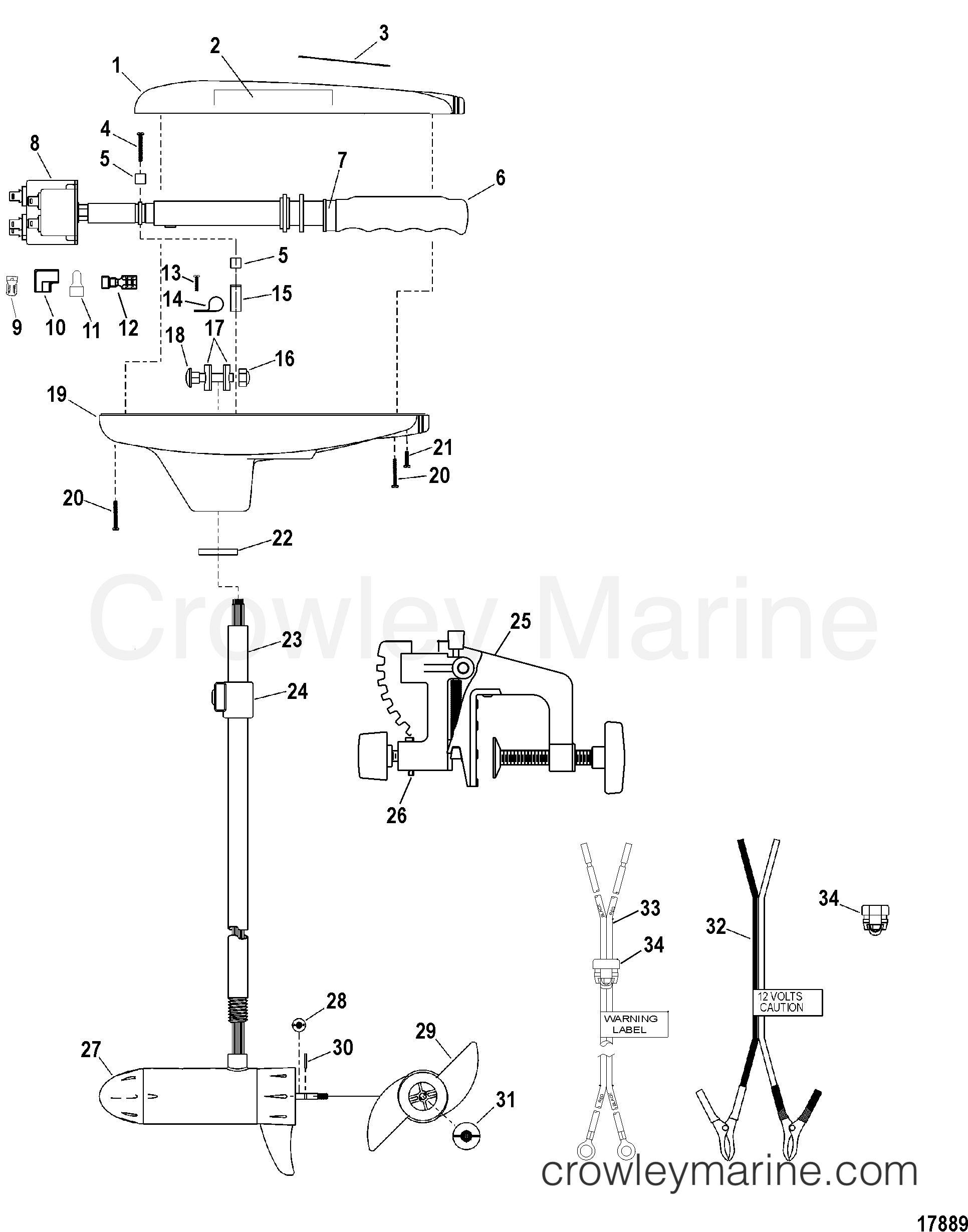 o4xTn4xJ complete trolling motor(model t34) (12 volt) 2004 motorguide 12v wiring diagram for 12 24 volt trolling motor at virtualis.co