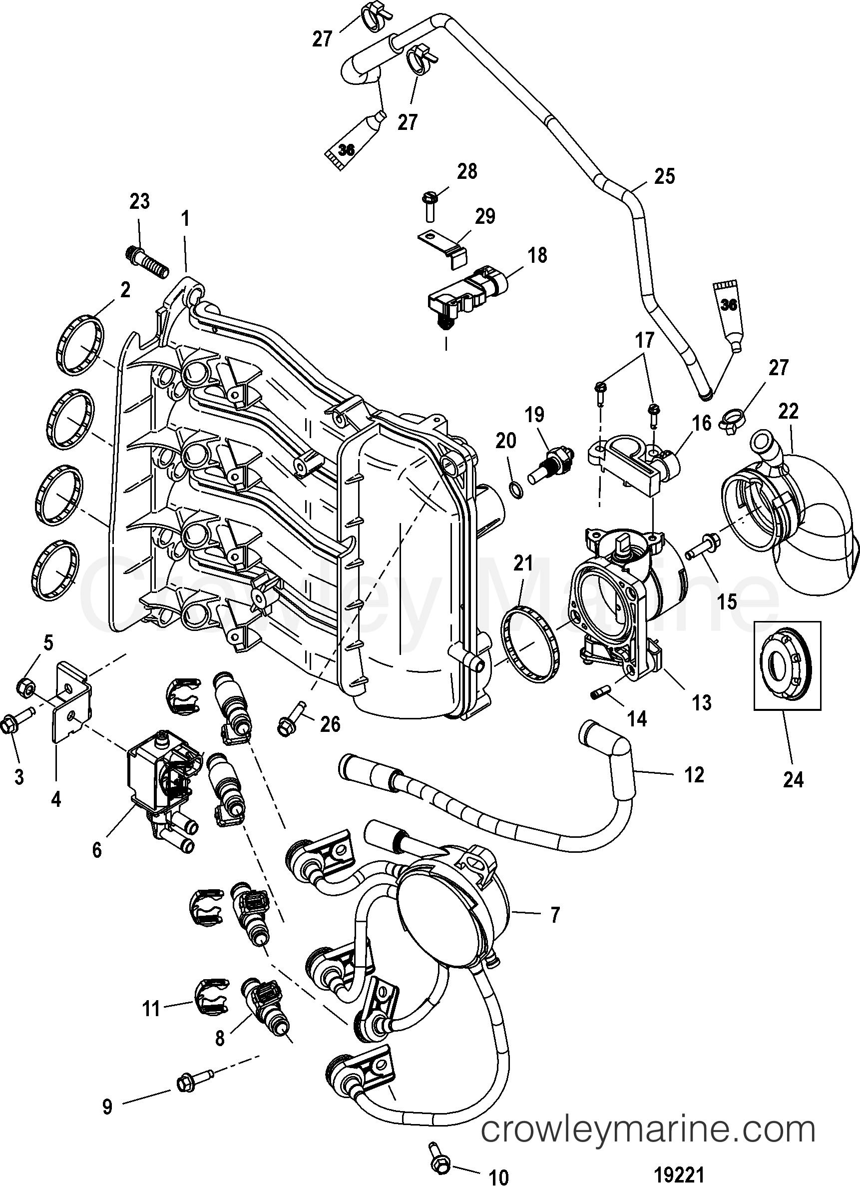 2006 Mercury Outboard 50EFI [ELPT/BF 4] - 1E51452FB - INTAKE MANIFOLD section