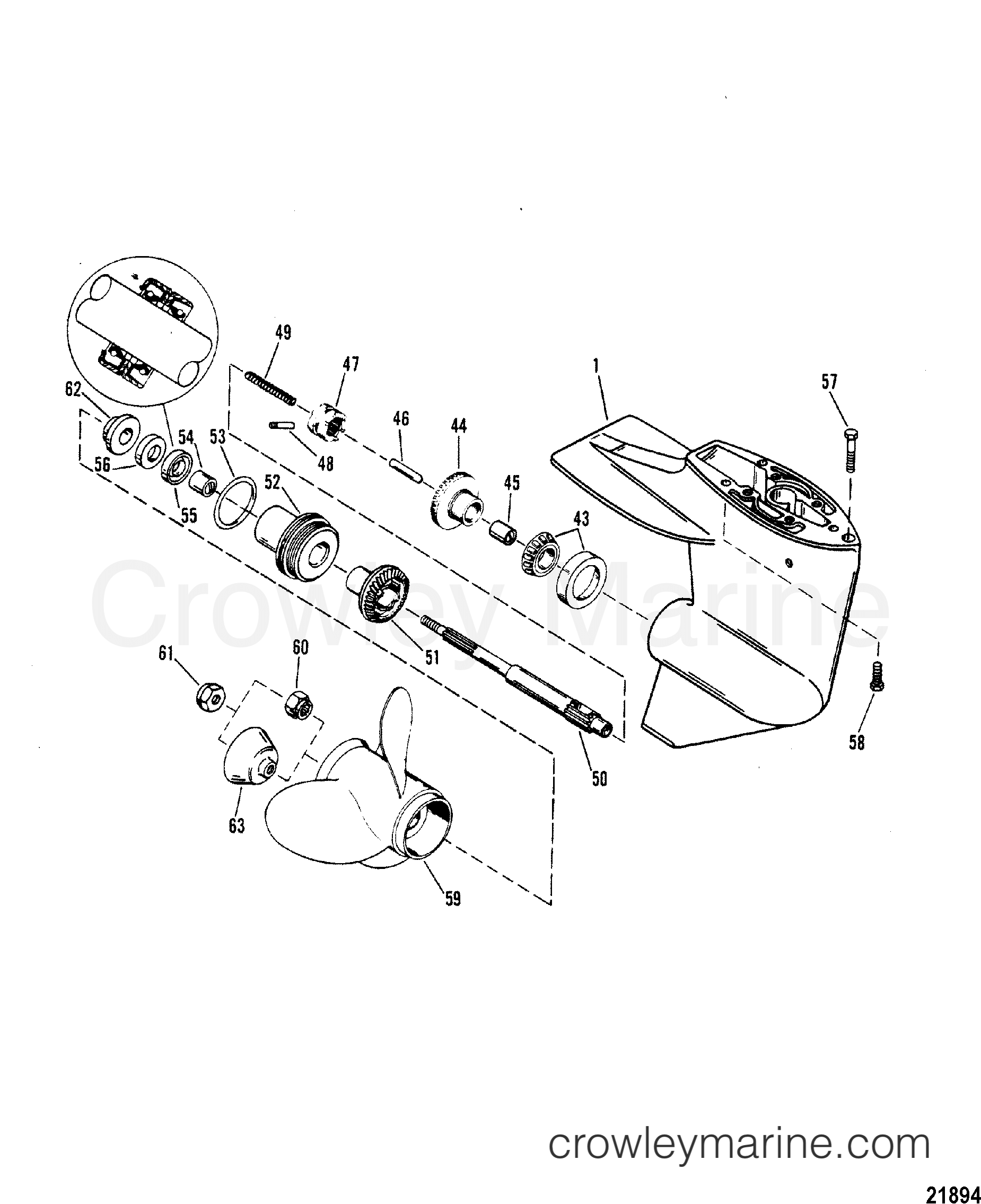 1993 Mariner Outboard 15 [MLH] - 7015211BD - GEAR HSG(PROPSHAFT-DESIGN II-REFER TO DRIVESHAFT DRAWING) section