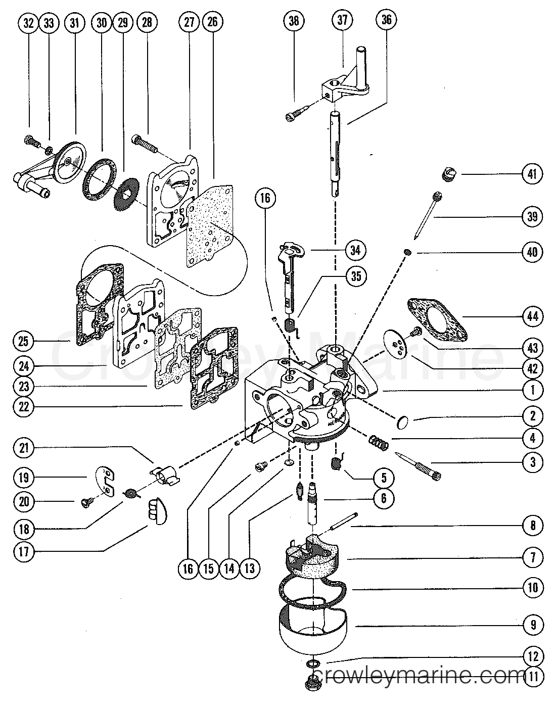 Mercury Carb Diagram Wiring Todays 90 Outboard Carburetor Assembly Complete 1975 9 8 1110205 25 Hp