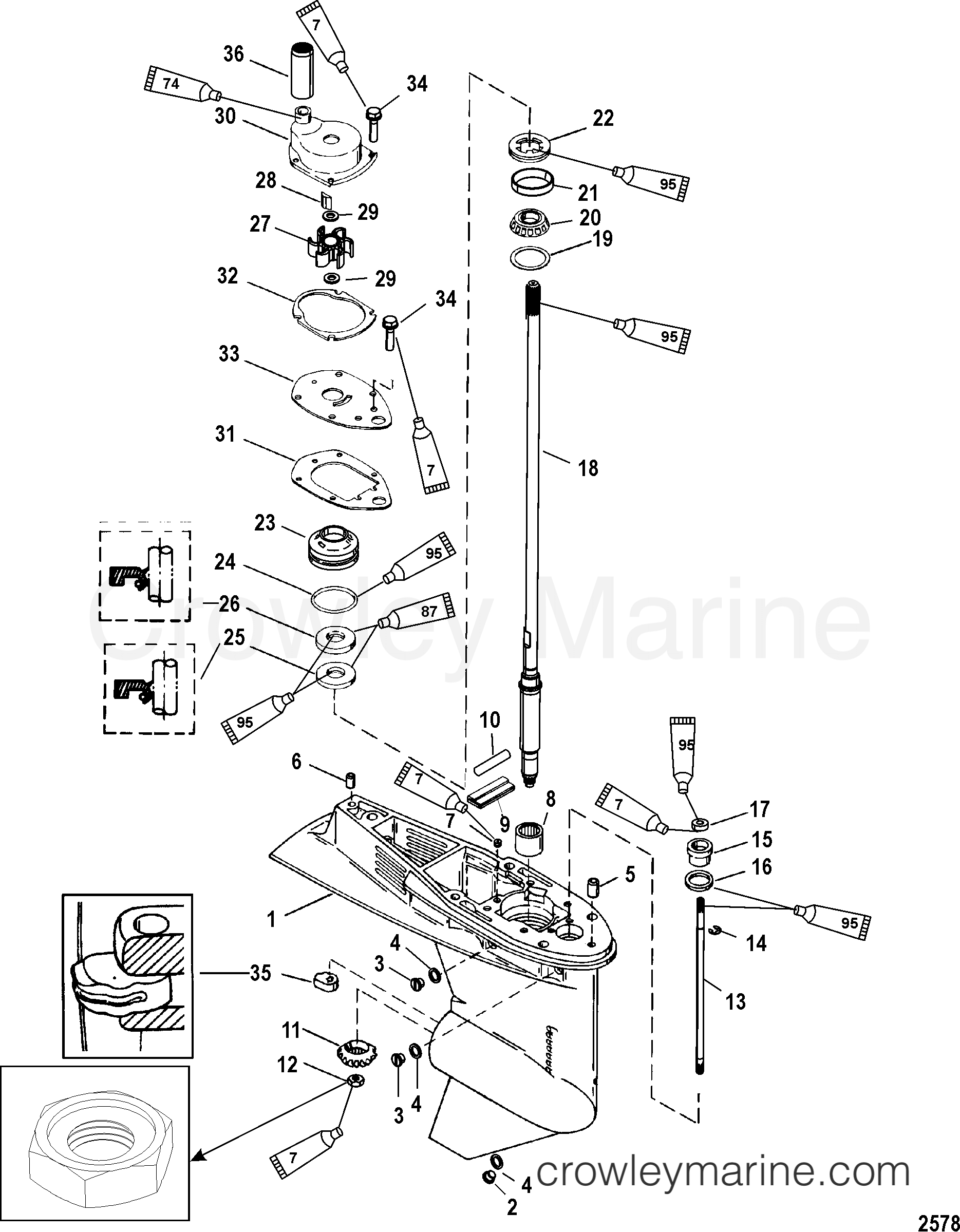 Serial Range Mariner Outboard 40 EFI (4 CYL.)(4-STROKE) - 0P401000 THRU 0P515896 [BEL] GEAR HOUSING(DRIVESHAFT)(1.83:1 GEAR RATIO) section