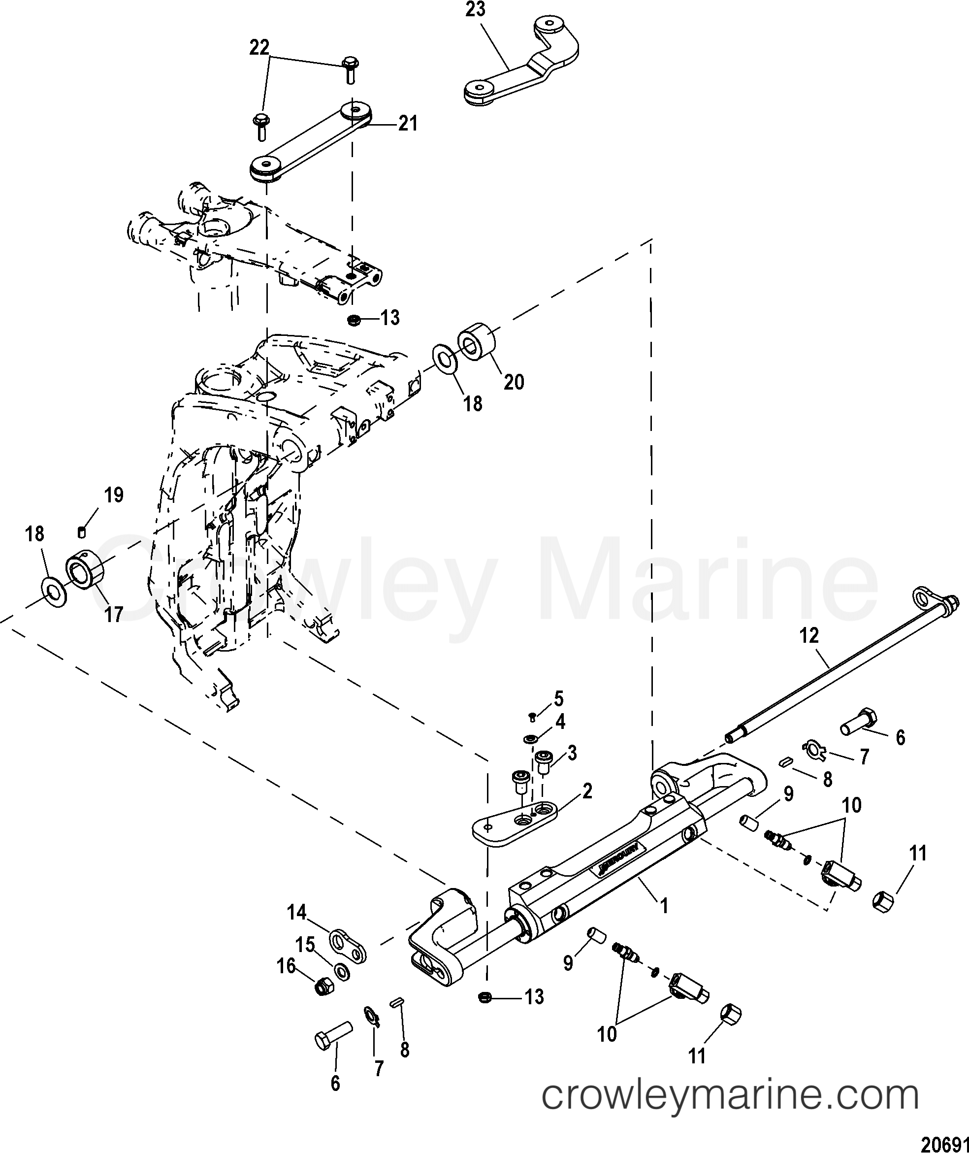 mercury outboard steering system diagram