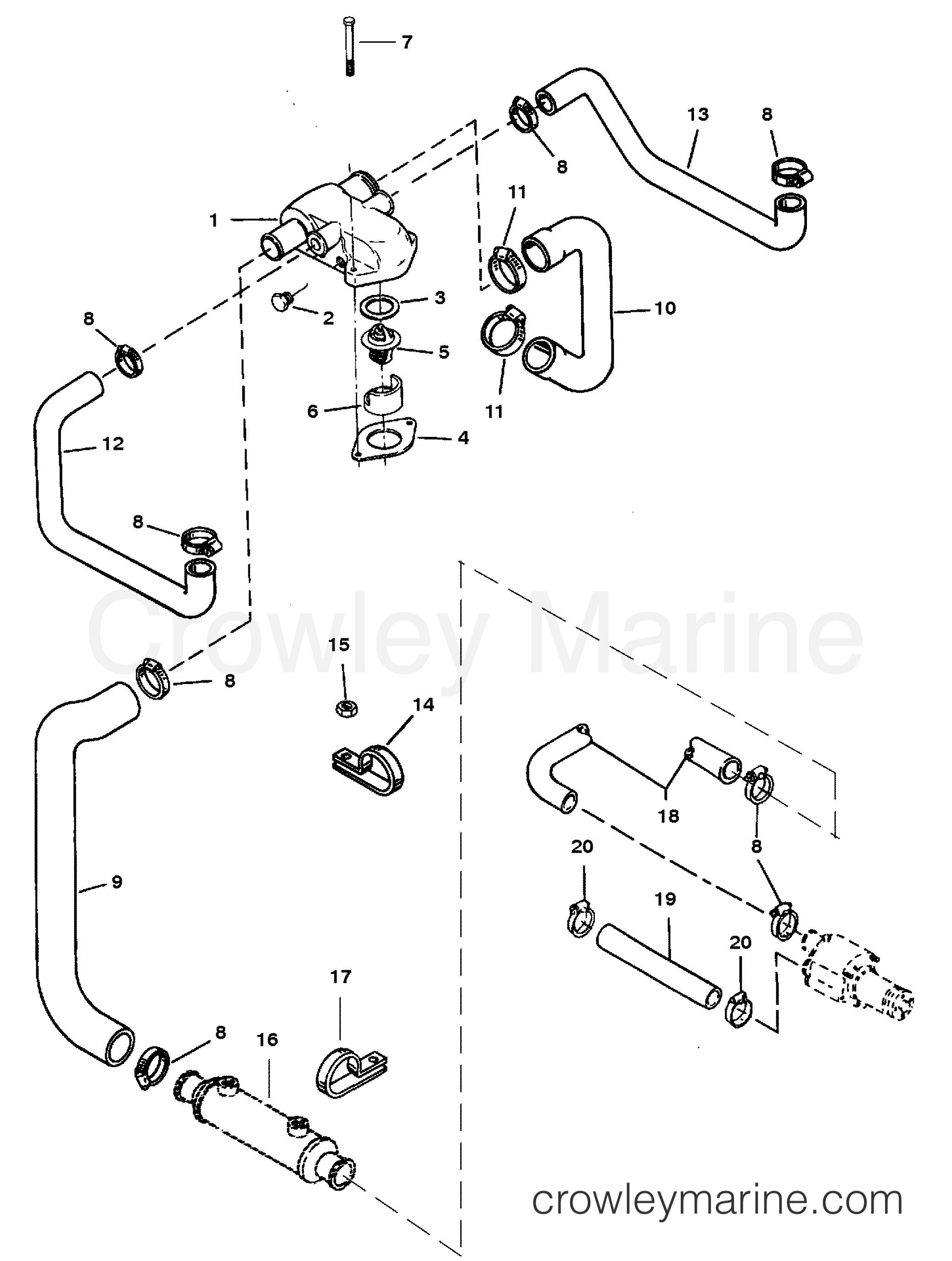 oppdnrAG standard cooling system (bravo engines) 1996 mercruiser 5 7l tbi