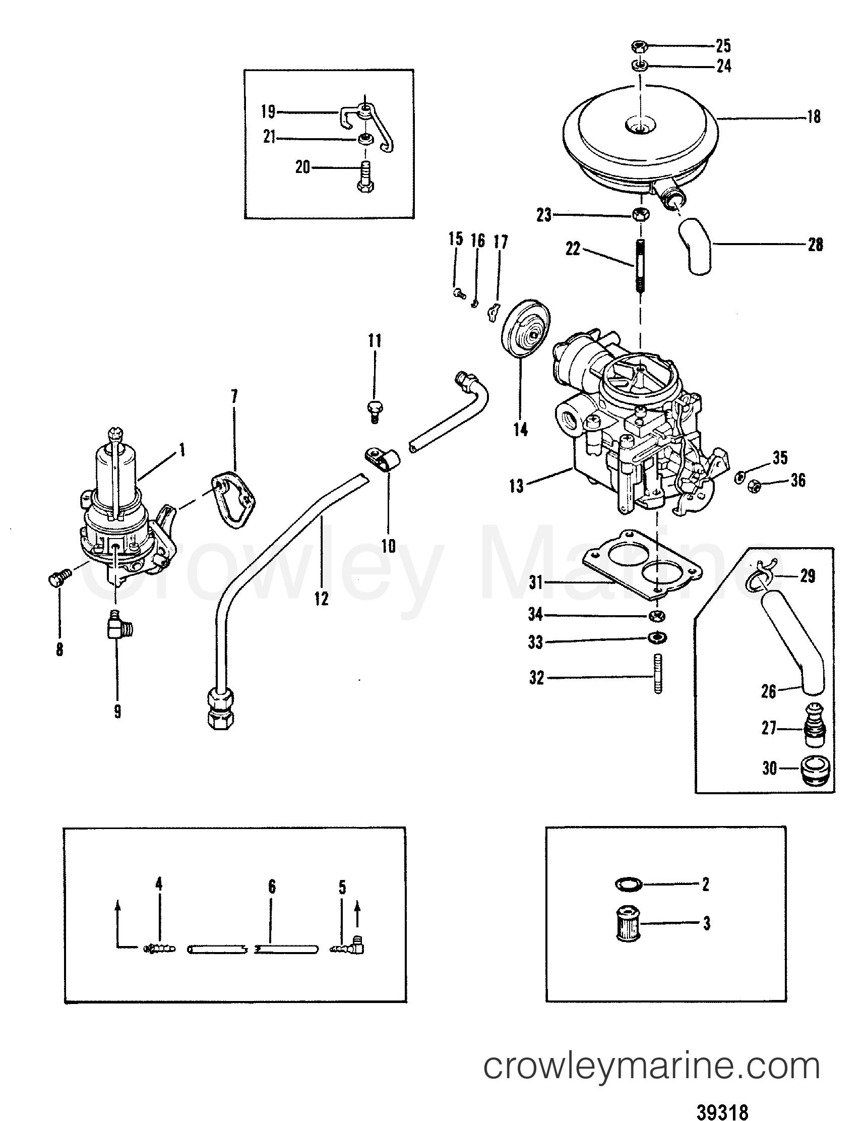 Fuel Pump And Carburetor Old Design 1983 Mercruiser 120