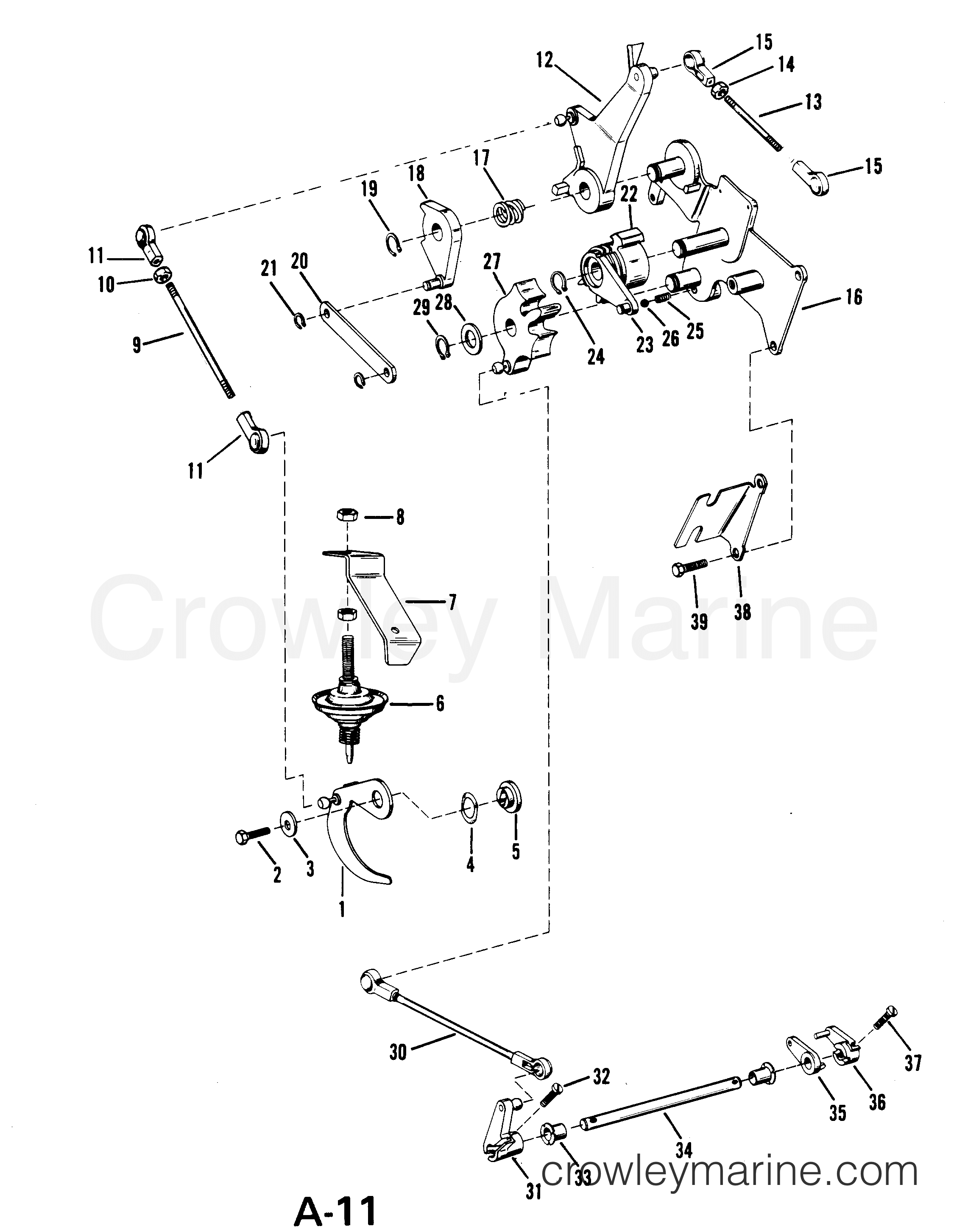 Throttle And Shift Linkage Manual Serial Range Mercury Outboard 65 Hp Motor Wiring Diagram 18 6416713 Thru 6443972 Usa
