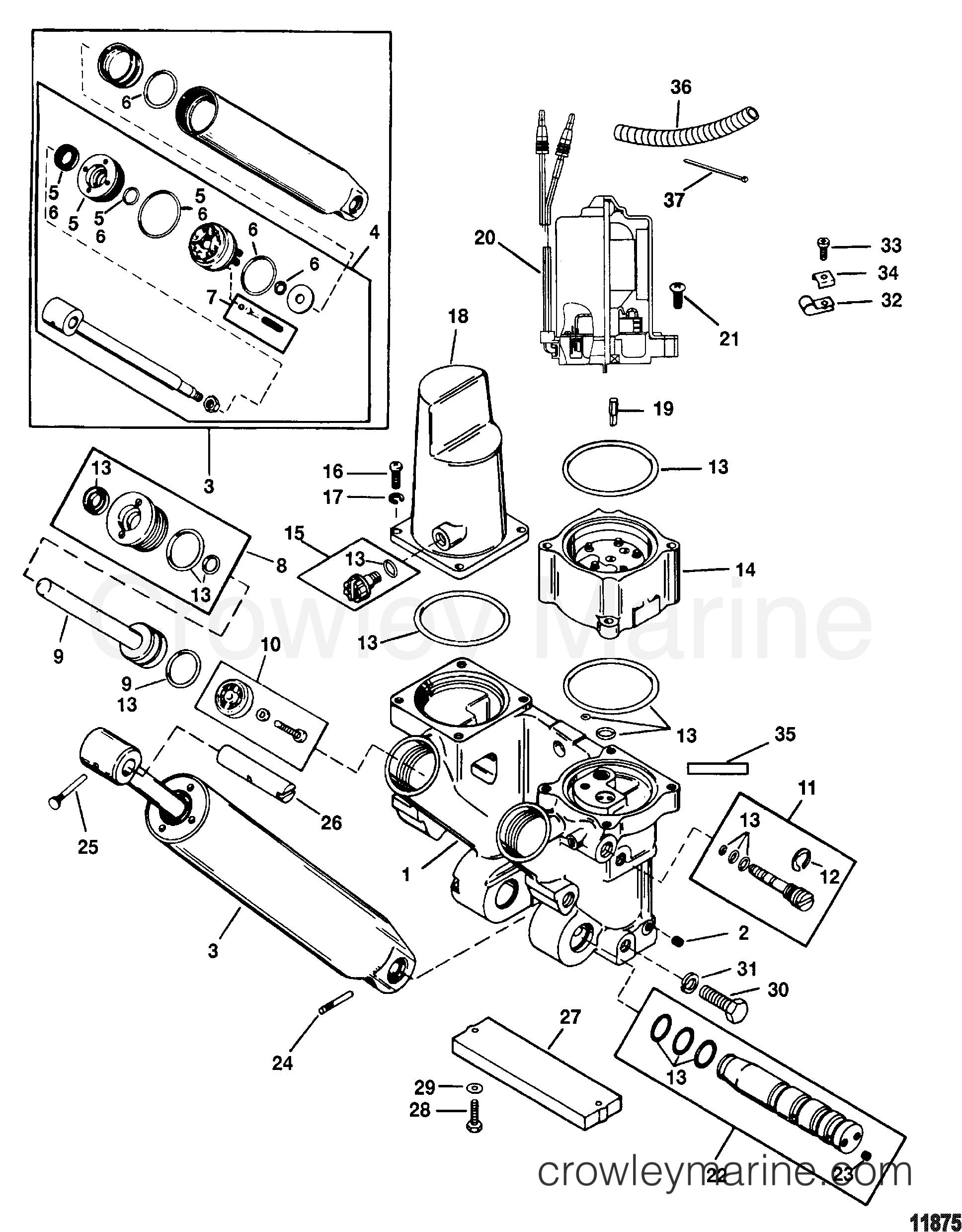 power trim components removable pump housing