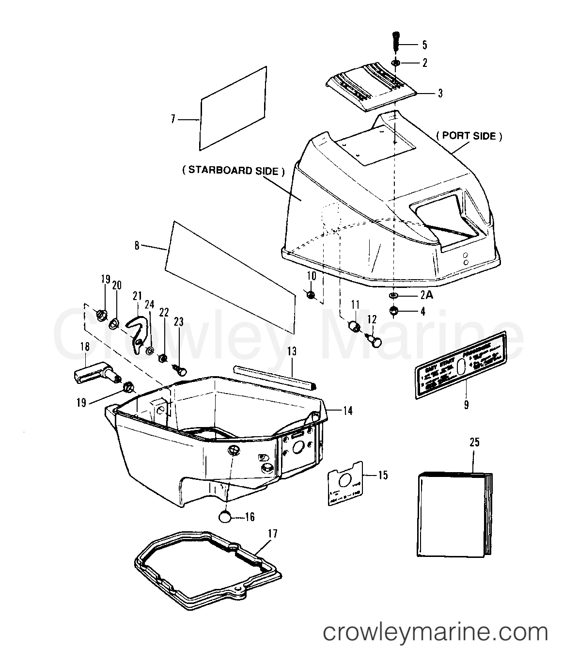 1993.5 Sears Outboard 9.9 - 225.581996 - TOP AND BOTTOM COWL