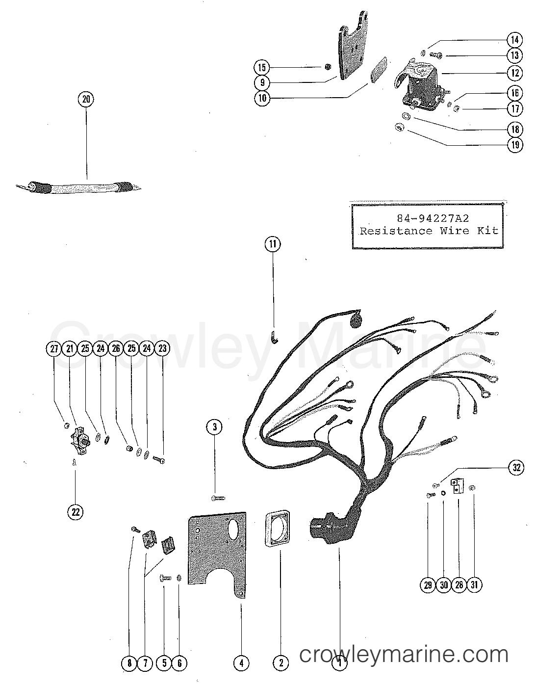 Wiring Harness Circuit Breaker And Starter Solenoid Stern Serial Mercruiser Plug Range 255 Ford 351 V 8 1973 1974 3258728 Thru 4175499