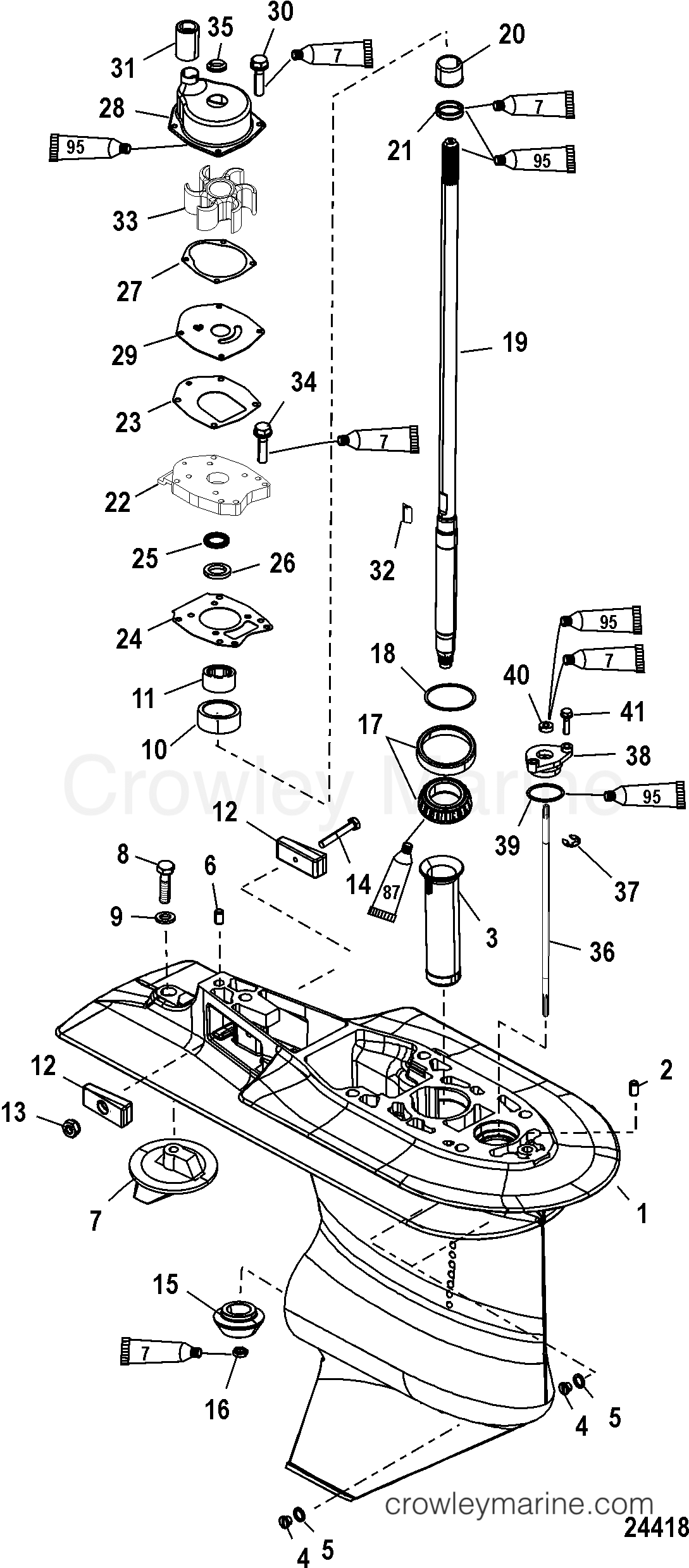 Serial Range Mariner Outboard 40 EFI (4 CYL.)(4-STROKE) - 0P401000 THRU 0P515896 [BEL] GEAR HOUSING(DRIVESHAFT-2.33:1)(SERIAL #1C033811 & UP) section