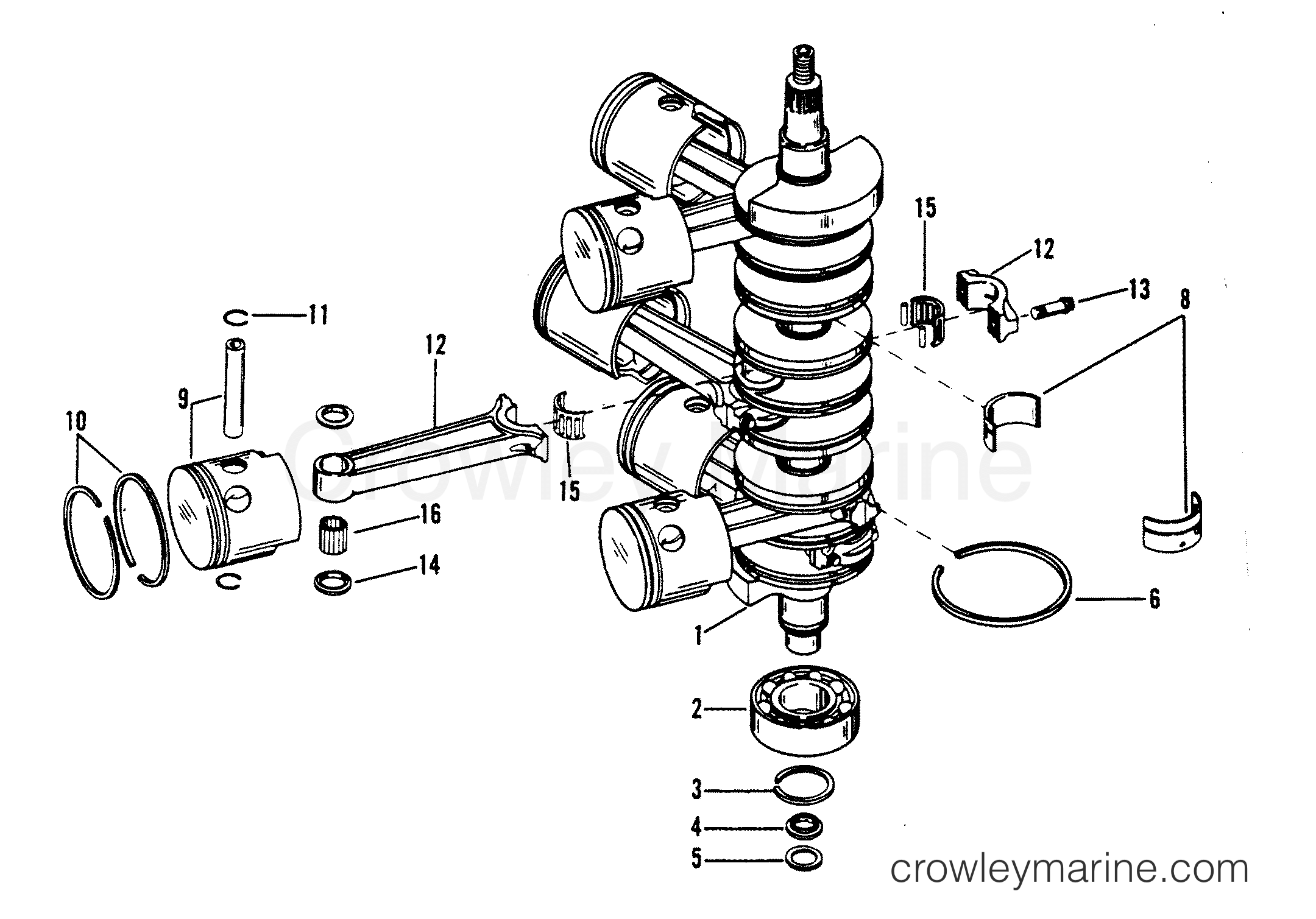 1991 Mercury Race Outboard 2.5 OS [CL EFI] - 1925242LH CRANKSHAFT, PISTONS AND CONNECTING RODS section