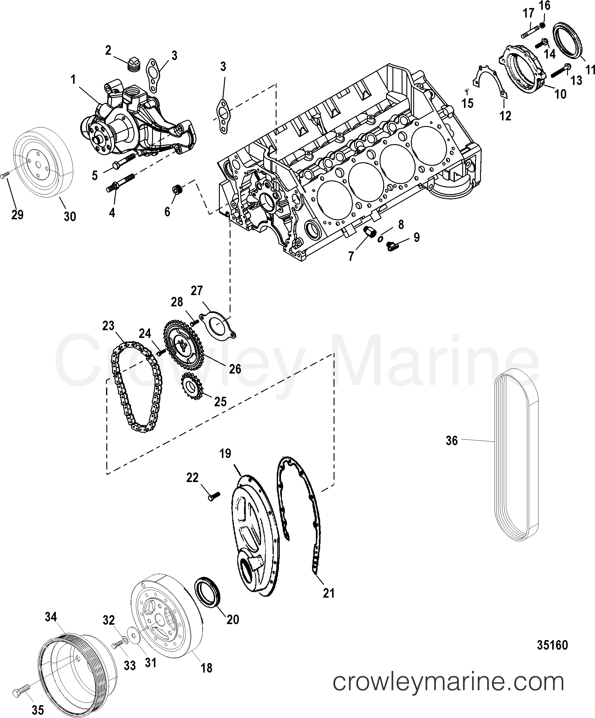 350 crate engine diagram front cover and circulating pump serial range mercruiser 350  4  front cover and circulating pump