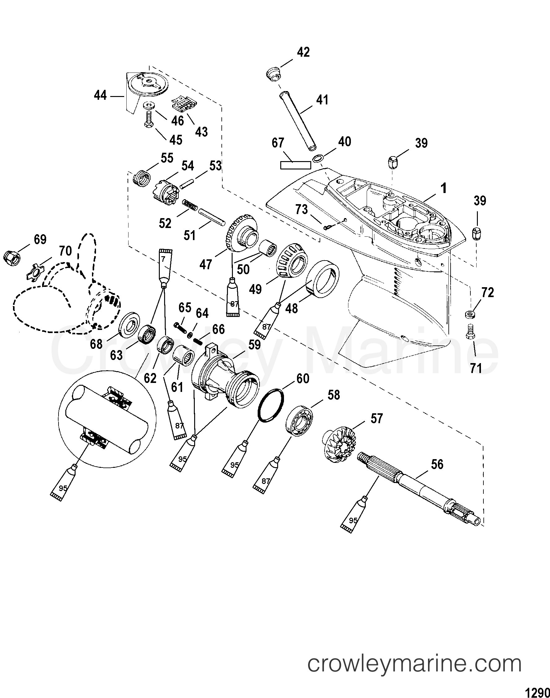 2004 Mercury Outboard 25 [EL/BF 4] - 1F25312CB GEAR HOUSING(PROPELLER SHAFT)(2.41:1 GEAR RATIO) section