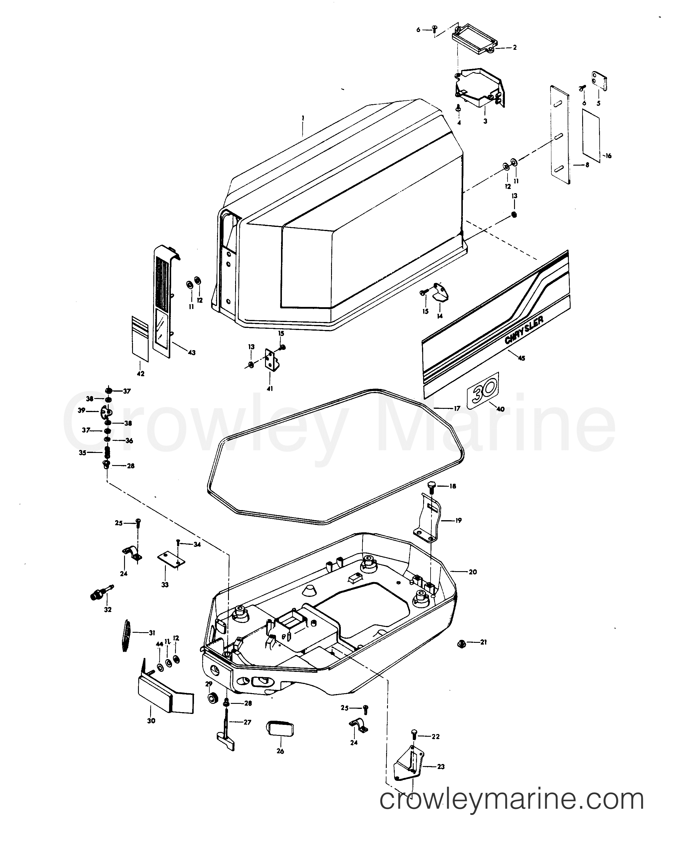 1980 Chrysler Outboard 30 - 307B0C ENGINE COVER AND SUPPORT PLATE (ALTERNATOR MODELS) section