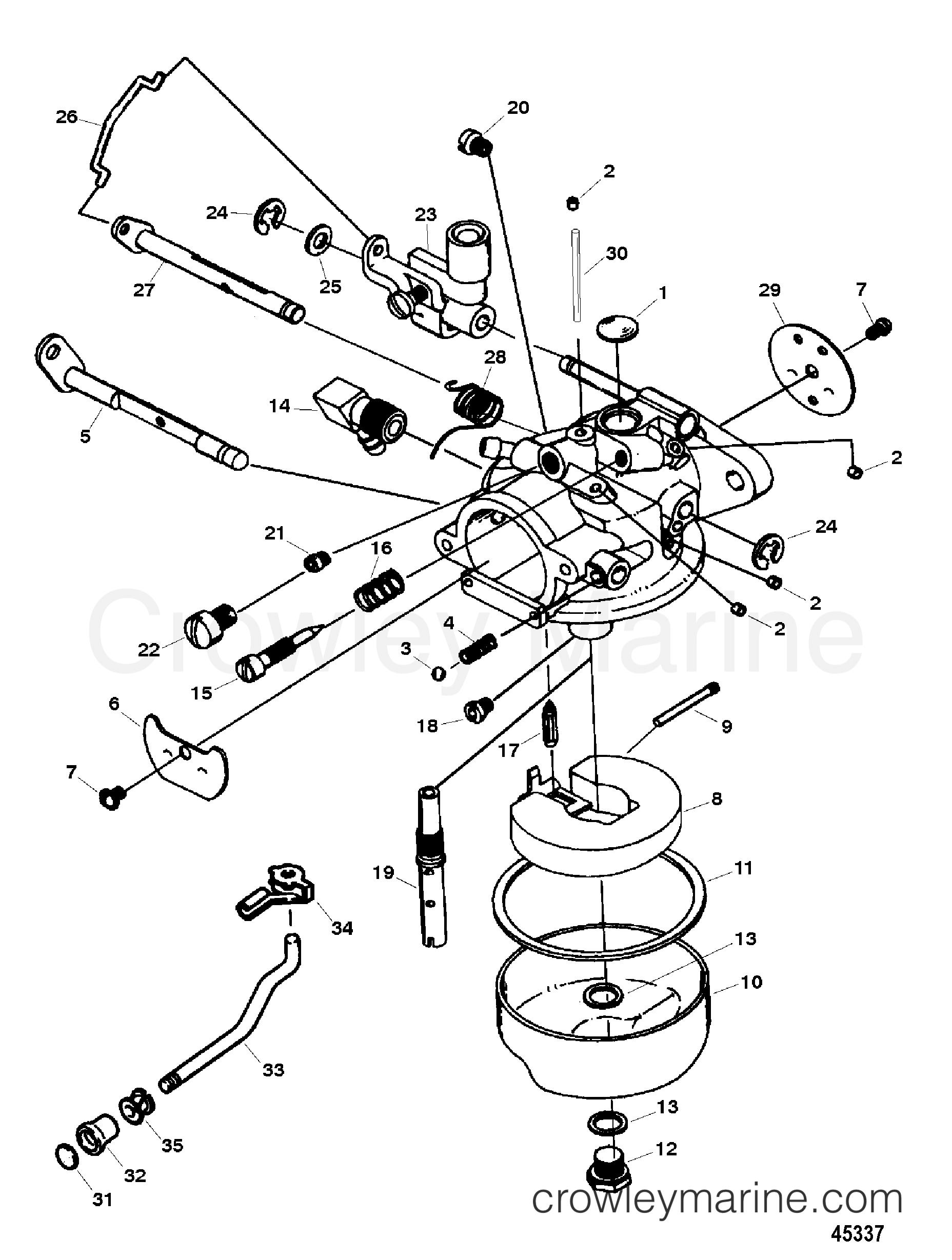 CARBURETOR(15 HP MODEL) (1300-852550T & 852550A1) - 1996 ...