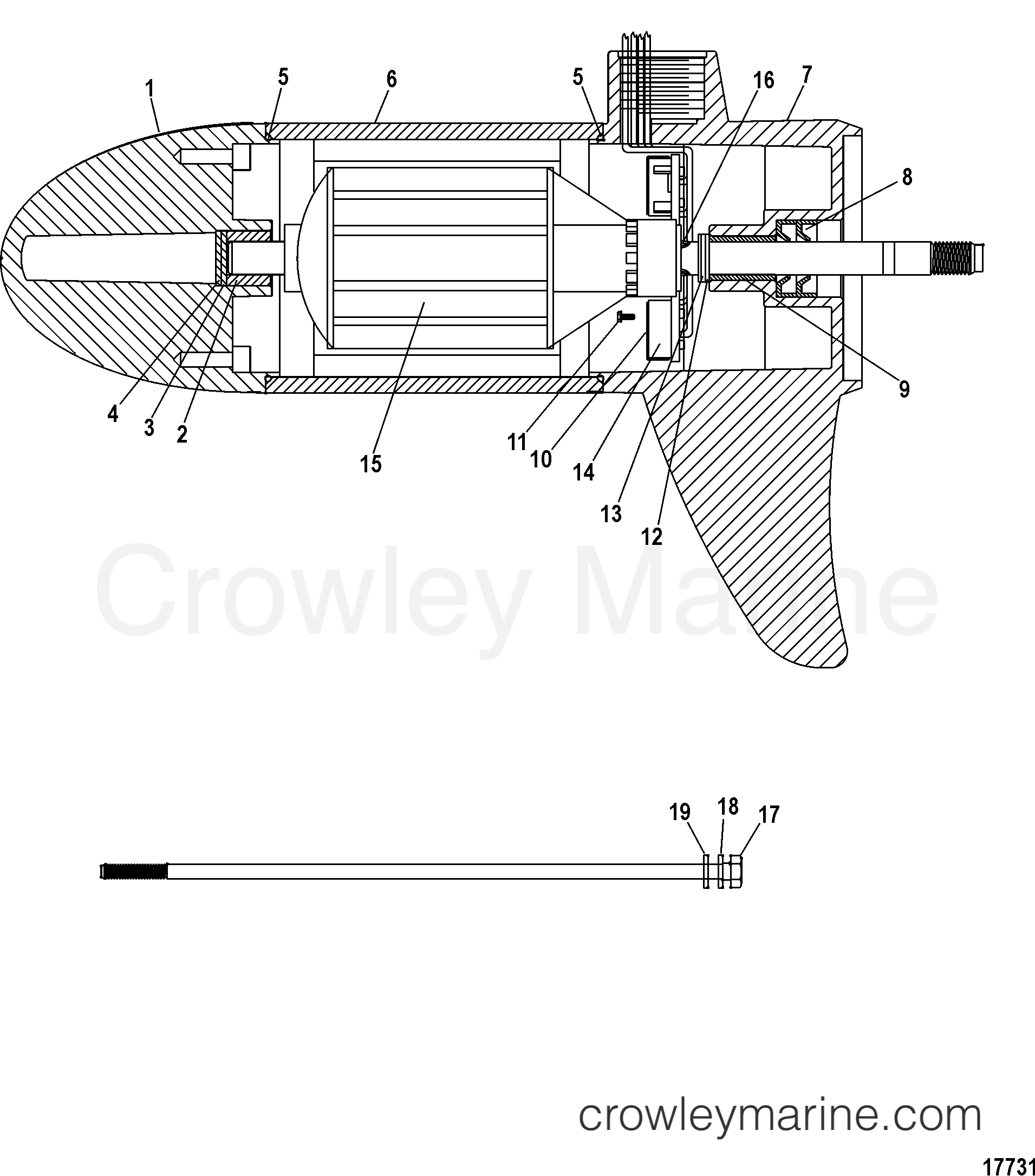 2005 MotorGuide 12V [MOTORGUIDE] - 921310040 LOWER UNIT ASSEMBLY(30# - 5/2 SPEED) (MHM39706T) section