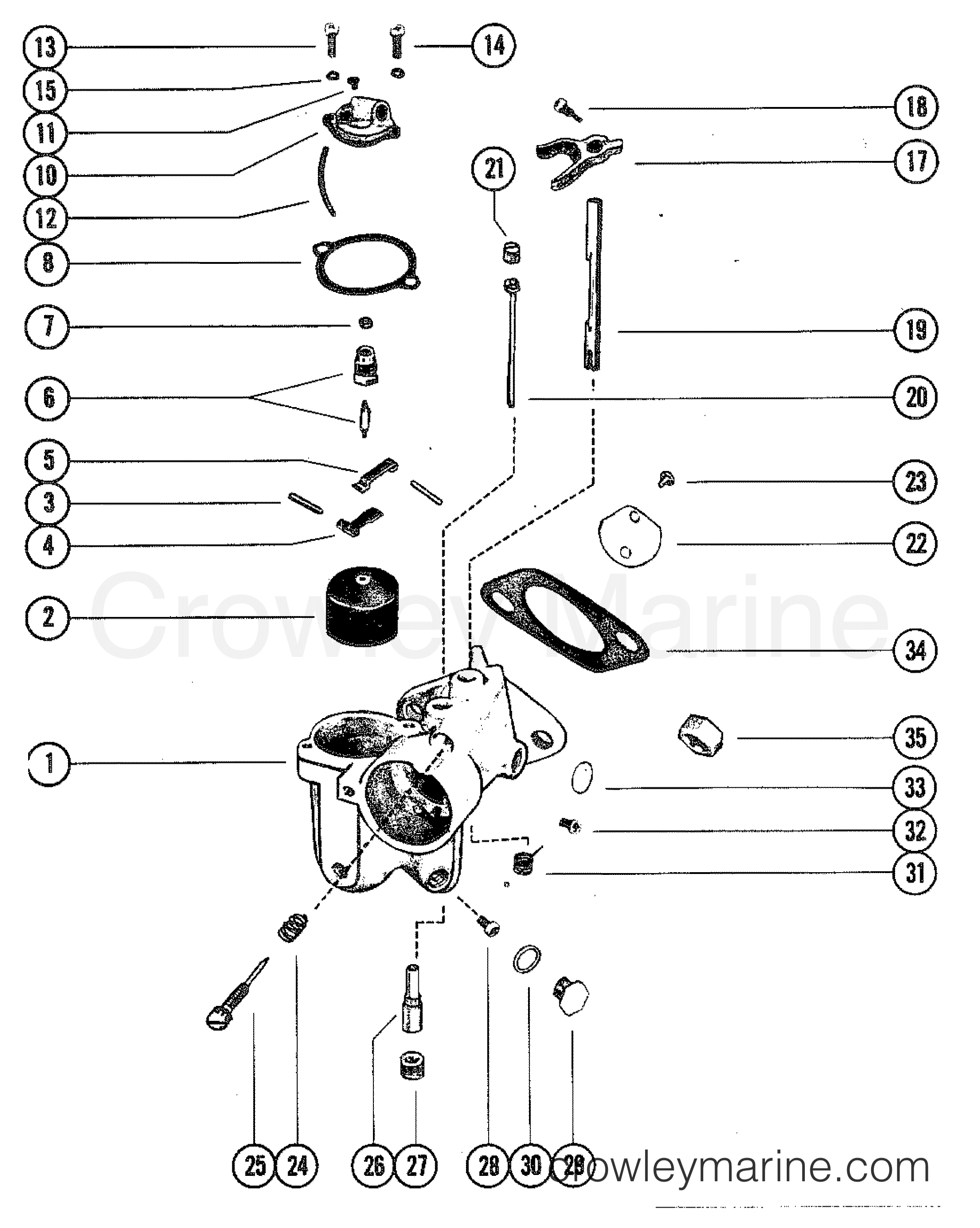 1980 mercury outboard 90 [elpt] - 1090620 - carburetor assembly section