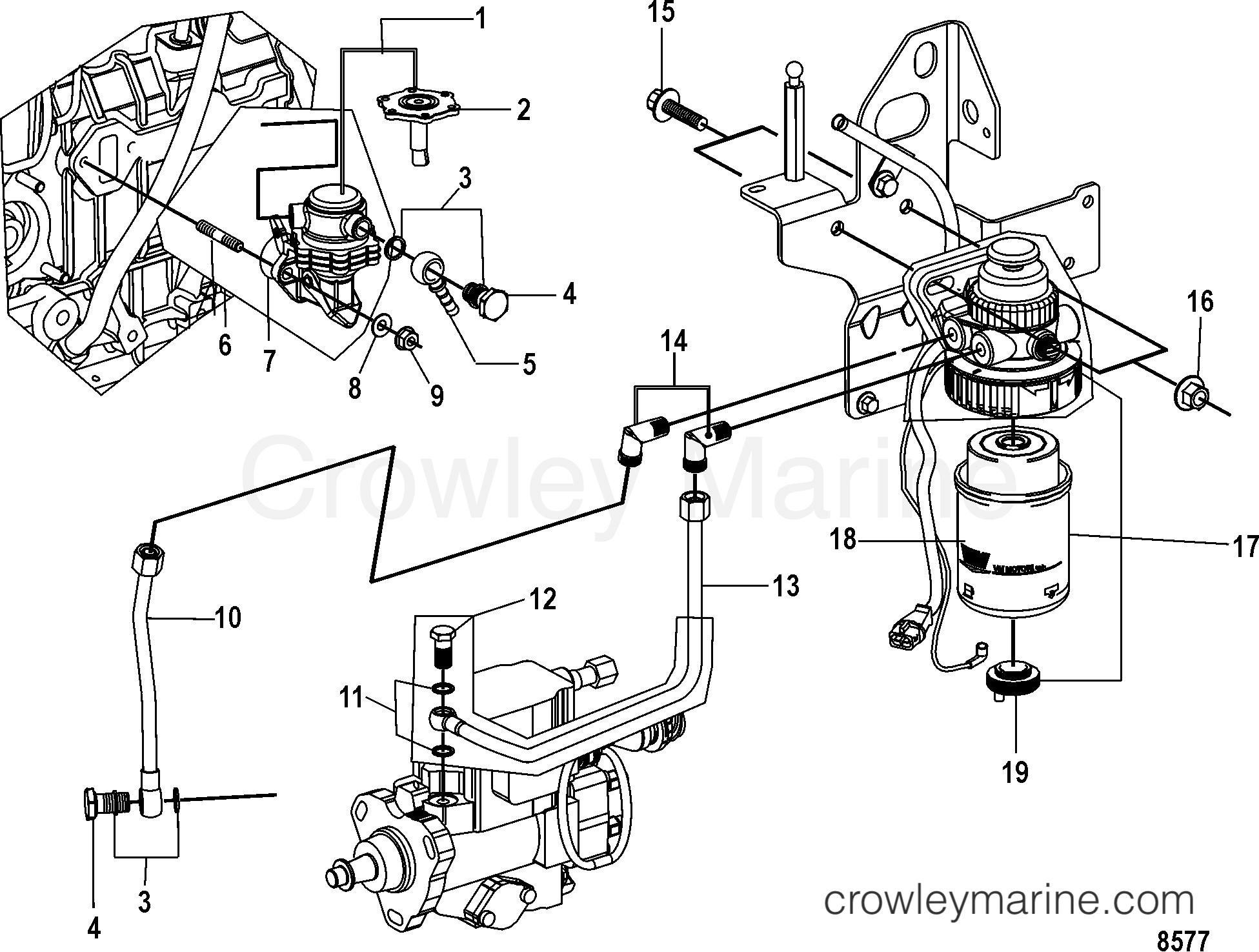 1998 Mercruiser 2.8L QSD [ES 200] - 40280001D - FUEL PUMP AND FUEL