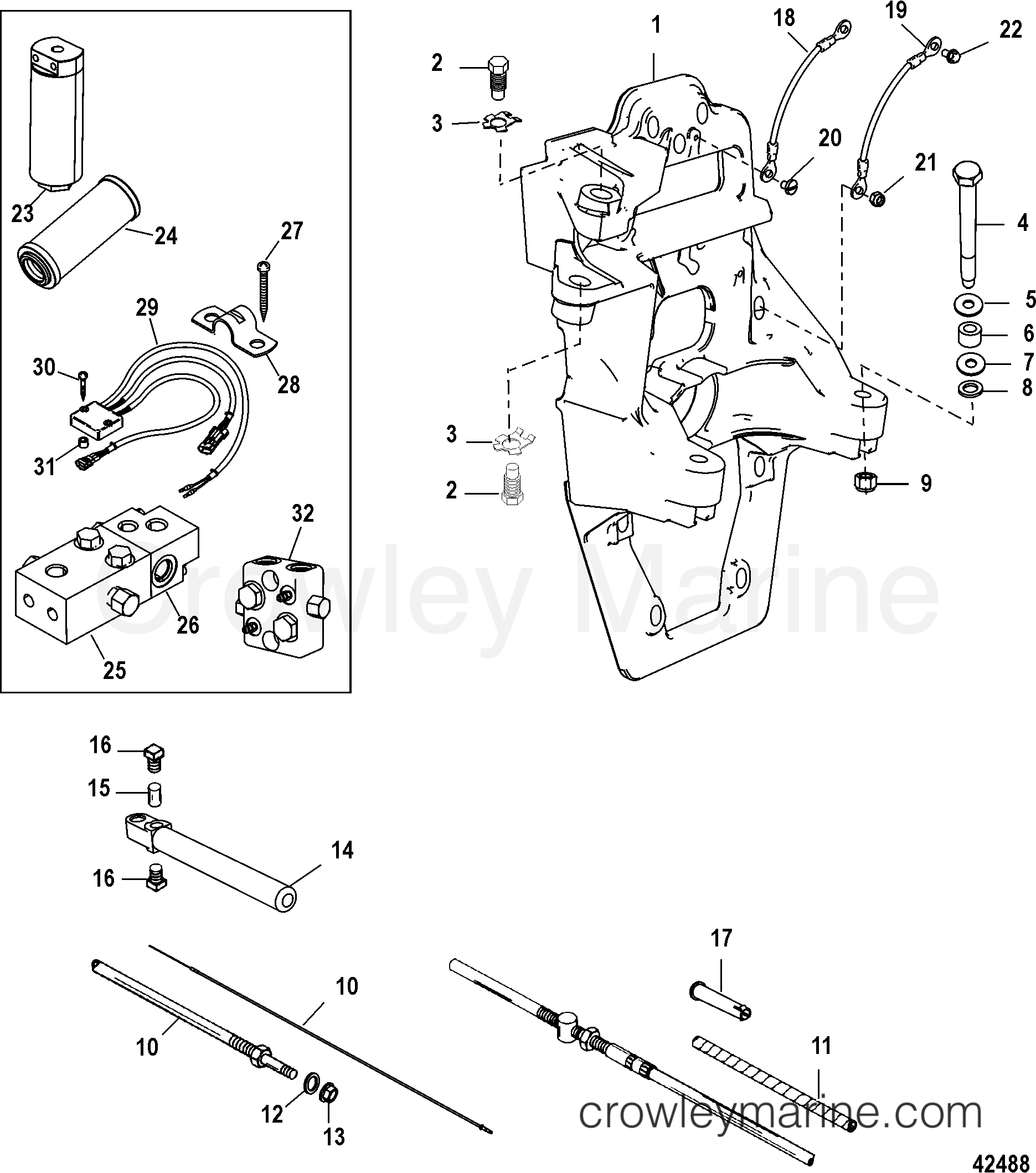 TRANSOM PLATE AND SHIFT CABLE - 1998 Mercruiser B3XR ITS [1.65:1] 5H41310TT  | Crowley MarineCrowley Marine