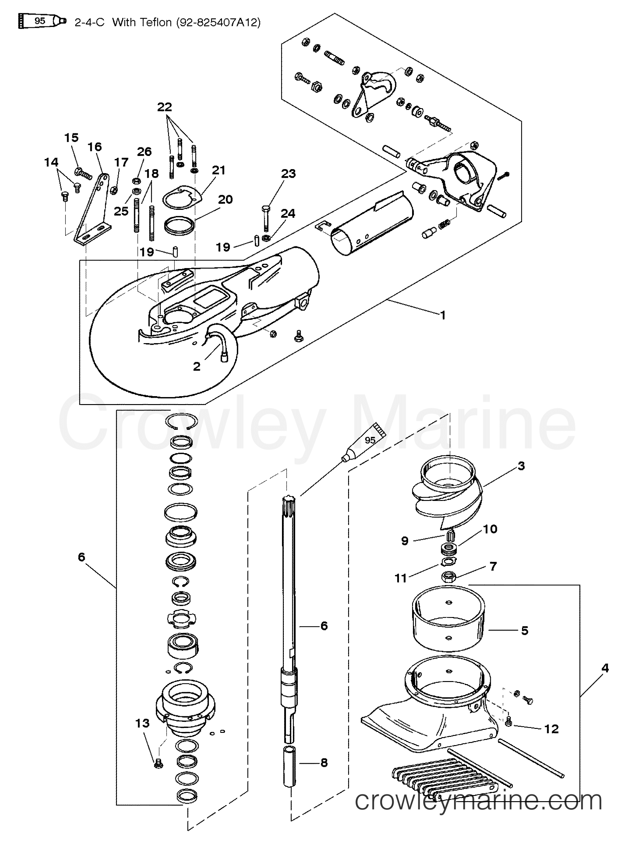 1996 Mercury Outboard 40 [ELO] - 1040312ST - JET PUMP ASSEMBLY section