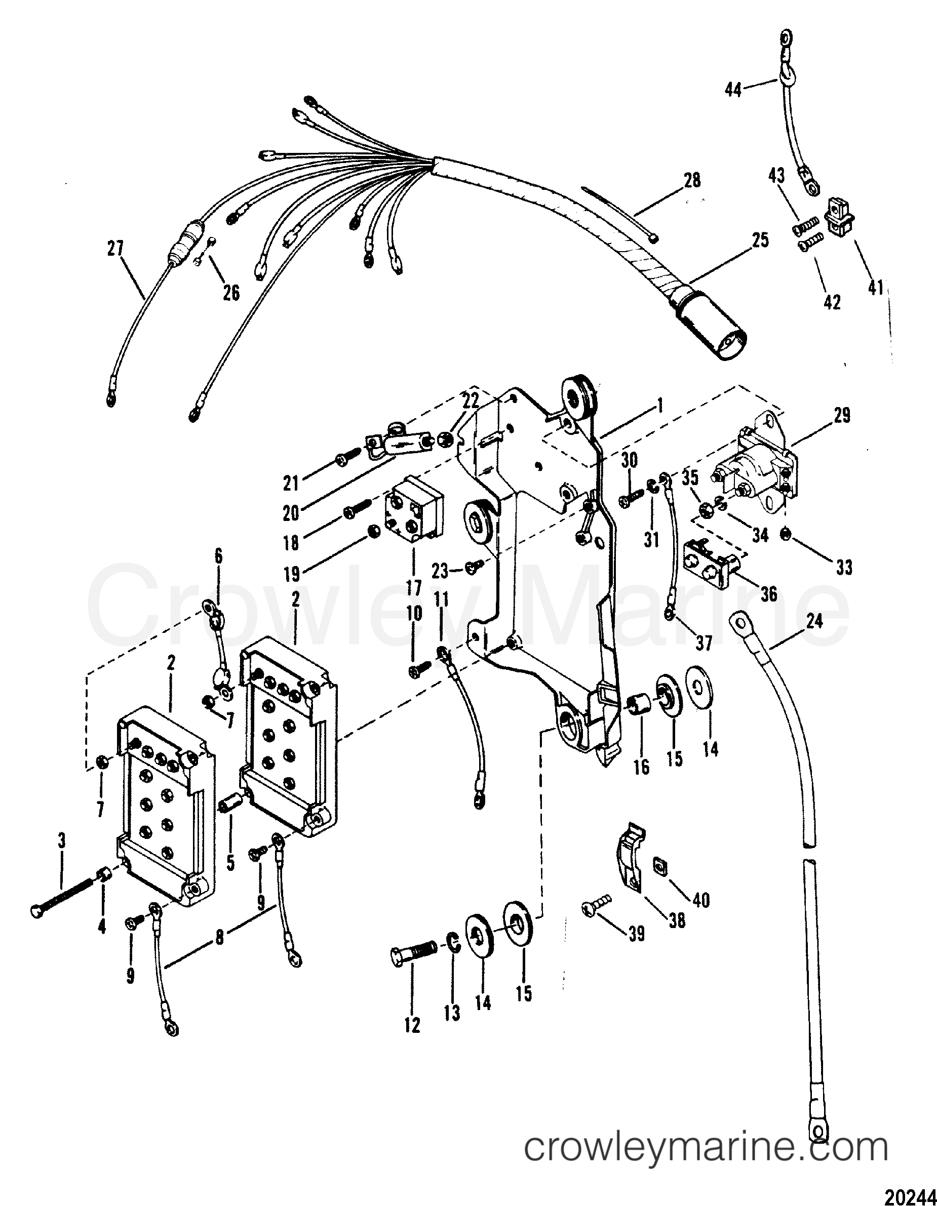 wiring harness starter solenoid and rectifier 1983 1983 mercury outboard wiring diagram #1