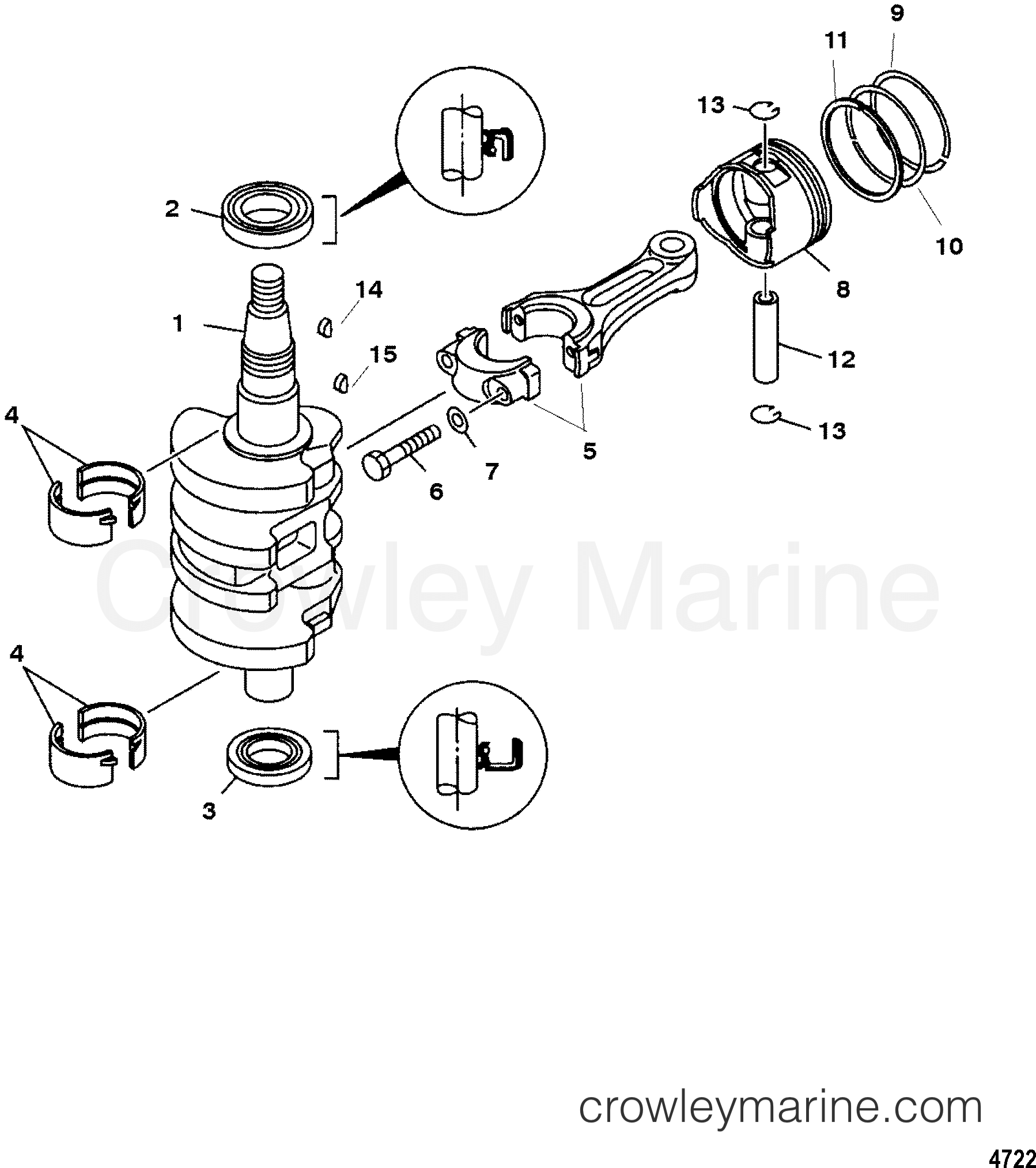 Crankshaft Pistons And Connecting Rods 1998 Mariner Outboard 15 Engine Diagram Schedule E 4 7f15302gd