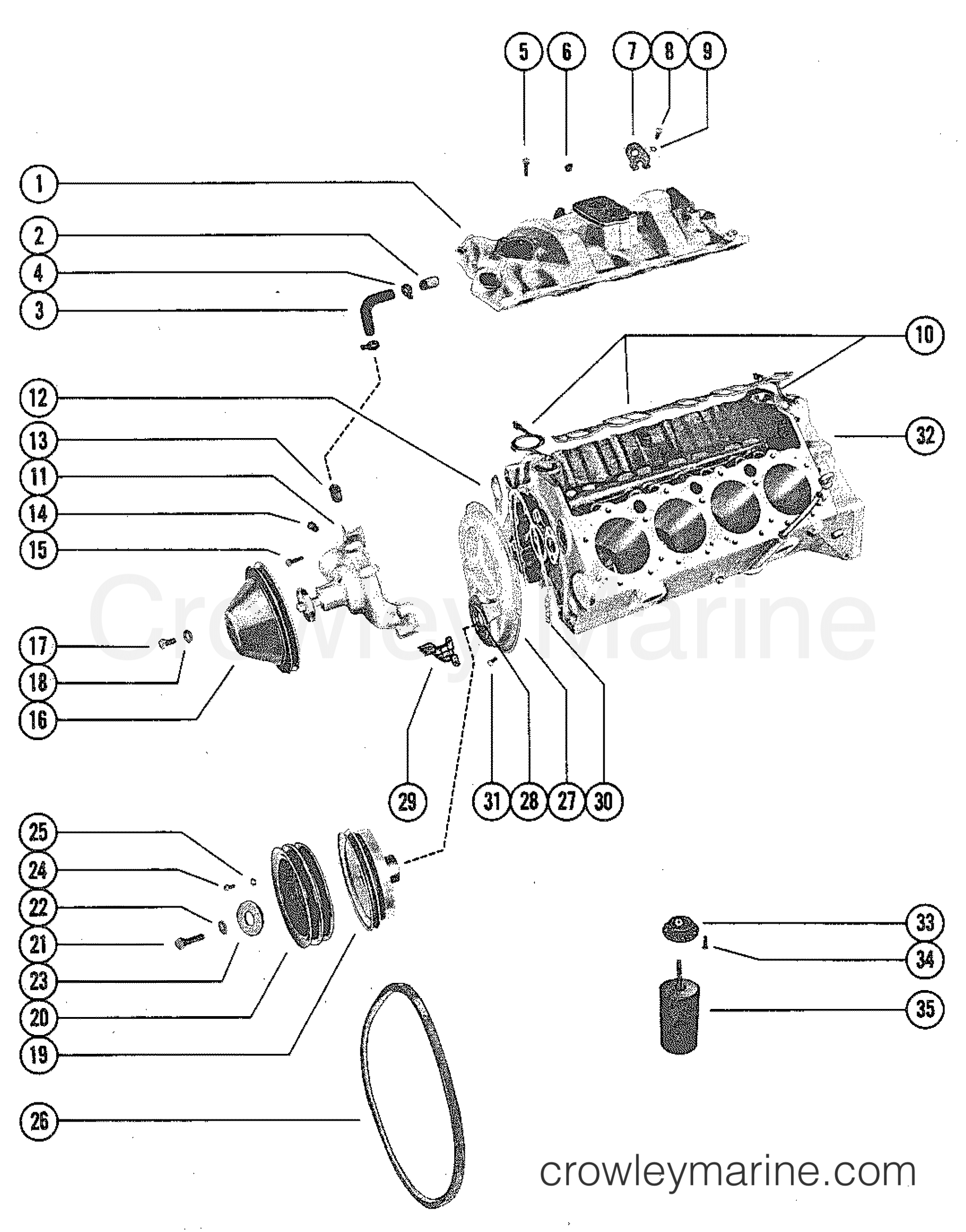 Intake Manifold And Water Pump Serial Range Mercruiser