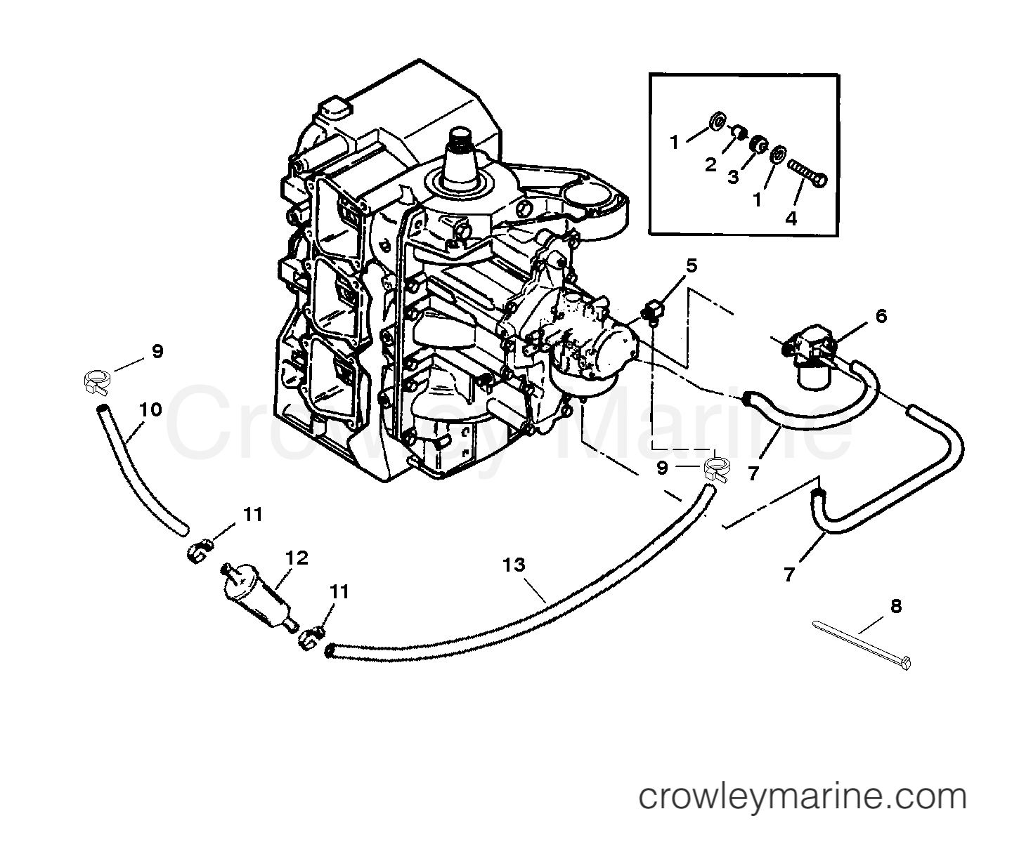 Fuel Filter And Prime System 1996 Force Outboard 75 H075412sd Elpt Crowley Marine