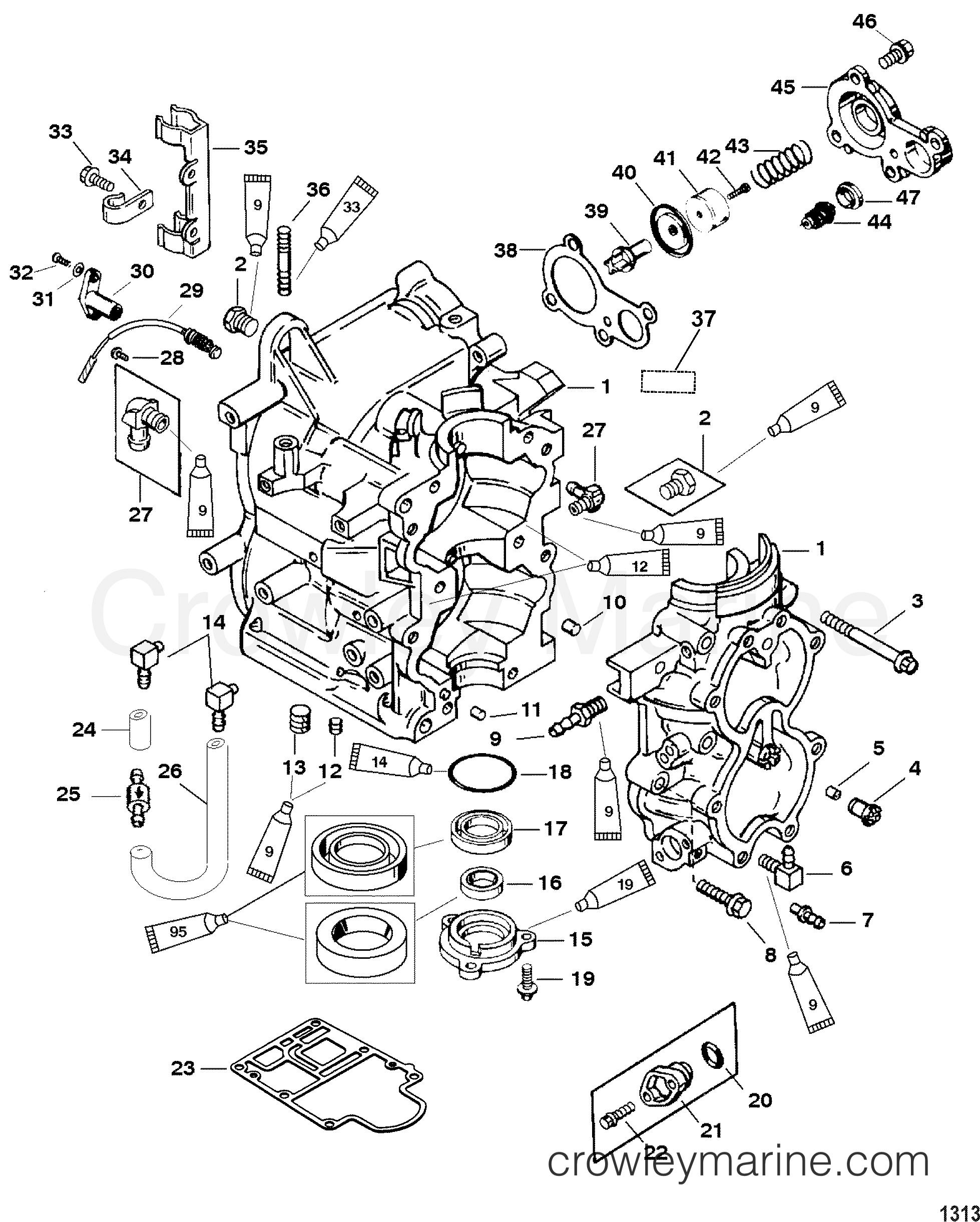 1999 Mariner Outboard 40 [ML/ALT] - 7041213HD - CYLINDER BLOCK section