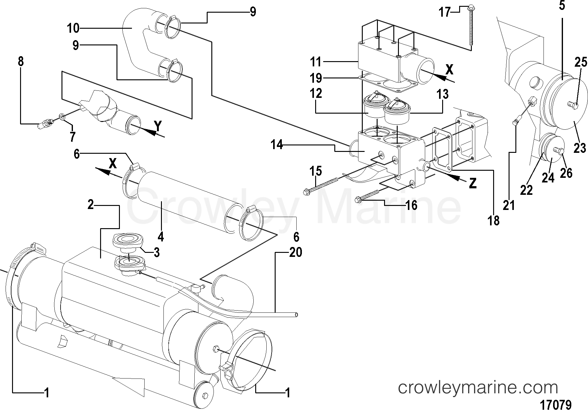 heat exchanger and thermostat housing