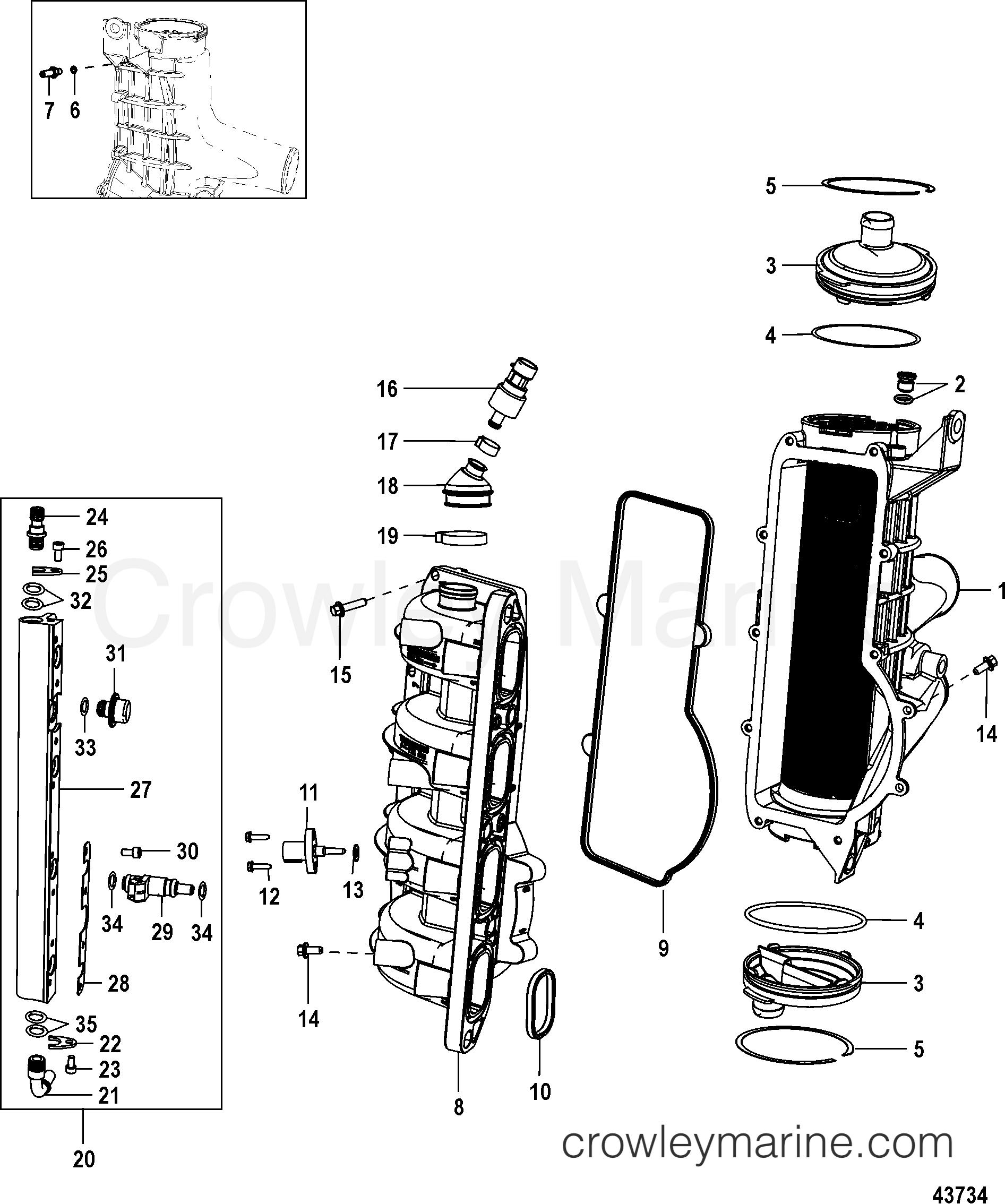 charge cooler  intake manifold gen ii  end cap serviced