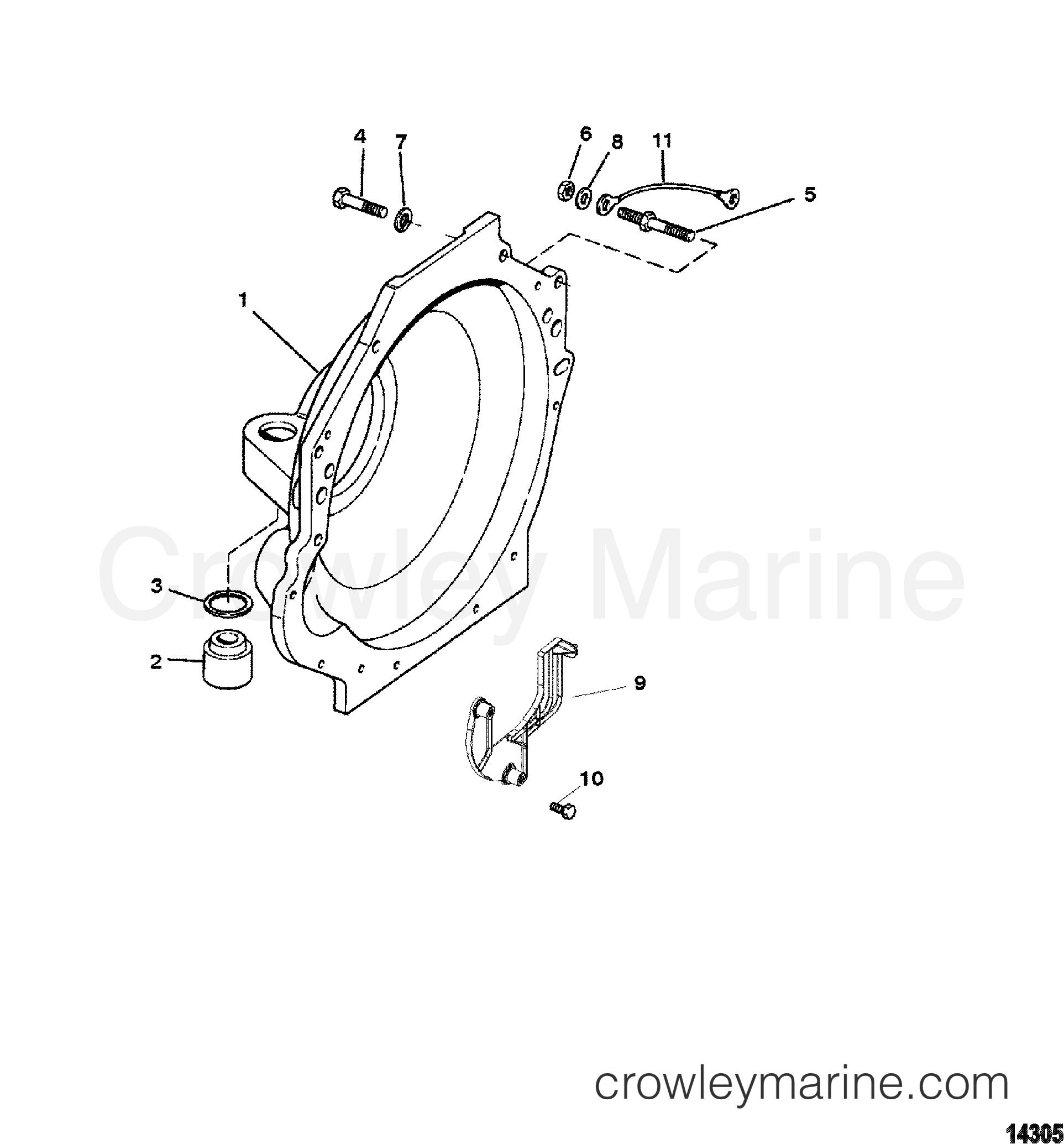 1996 mercruiser 4 3lx [alpha] - 443lc00jt - flywheel housing section
