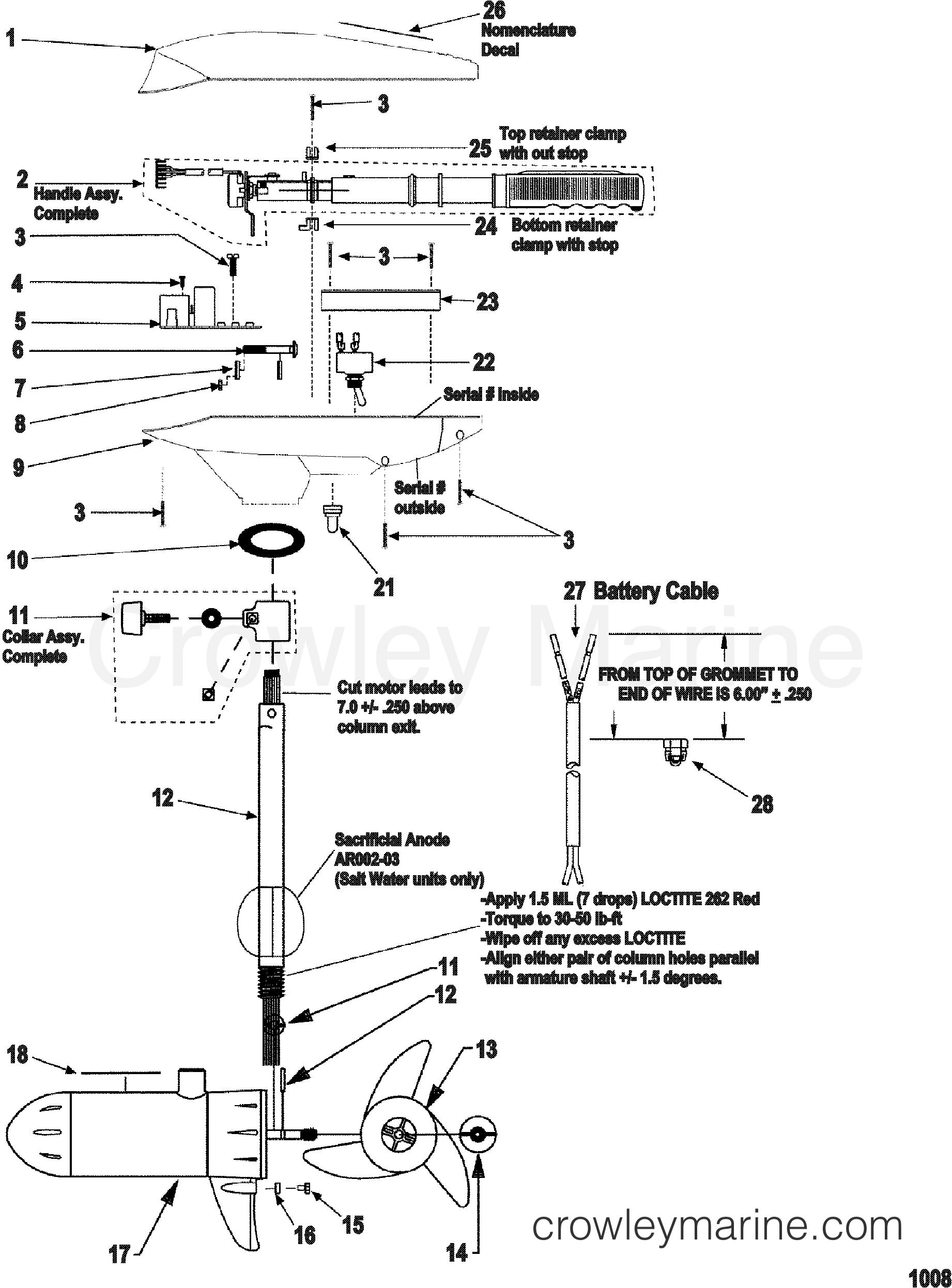 2000 MotorGuide 36V [MOTORGUIDE] - 9EF1072W1 COMPLETE TROLLING MOTOR(MODEL ET73V) (24 VOLT) section