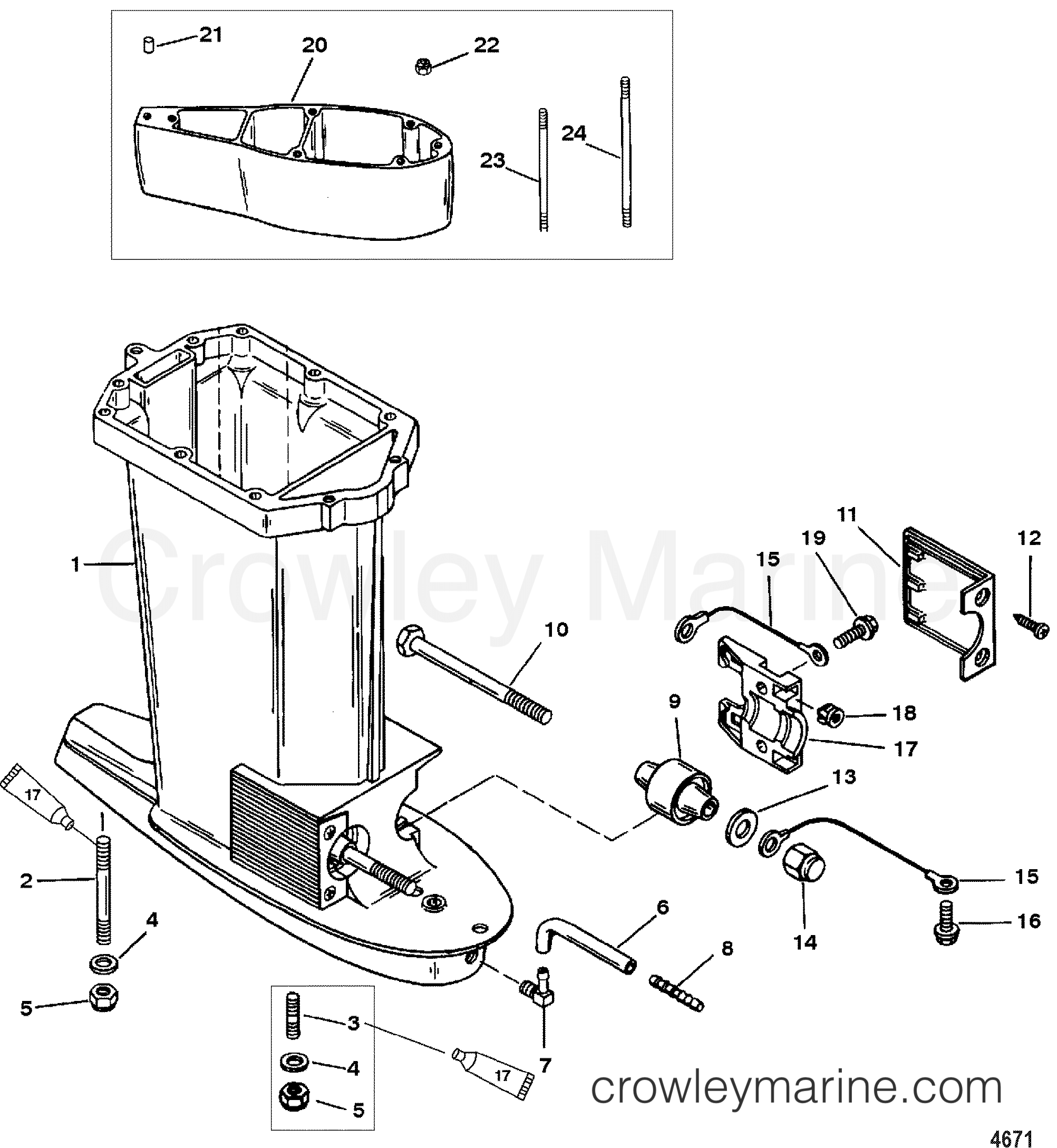 Serial Range Mercury Outboard 90 (3 CYL.) - 0G760300 THRU 0T979999 [USA] DRIVESHAFT HOUSING(USA-0T800999/BEL-0P267999 AND BELOW) section